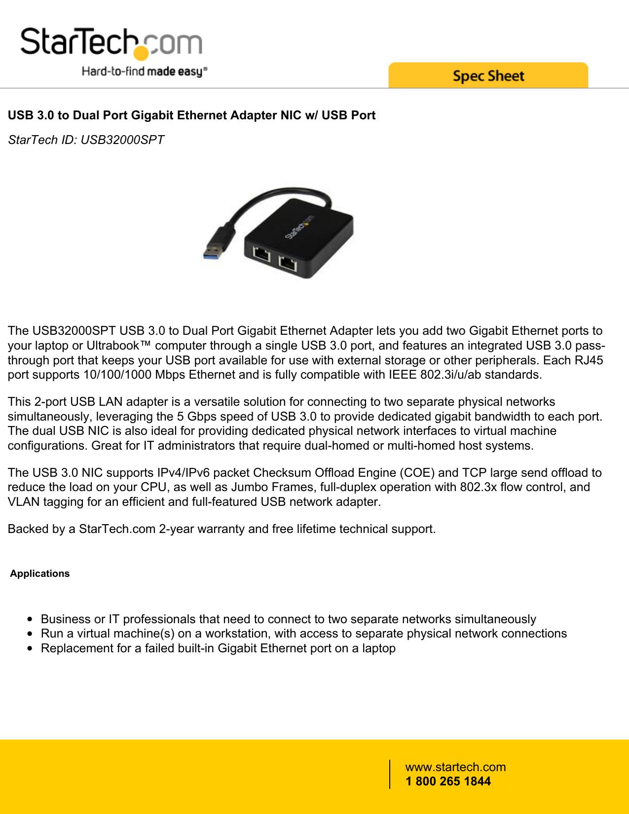 USB 3 0 to Dual Port Gigabit Ethernet Adapter NIC w/ USB Port