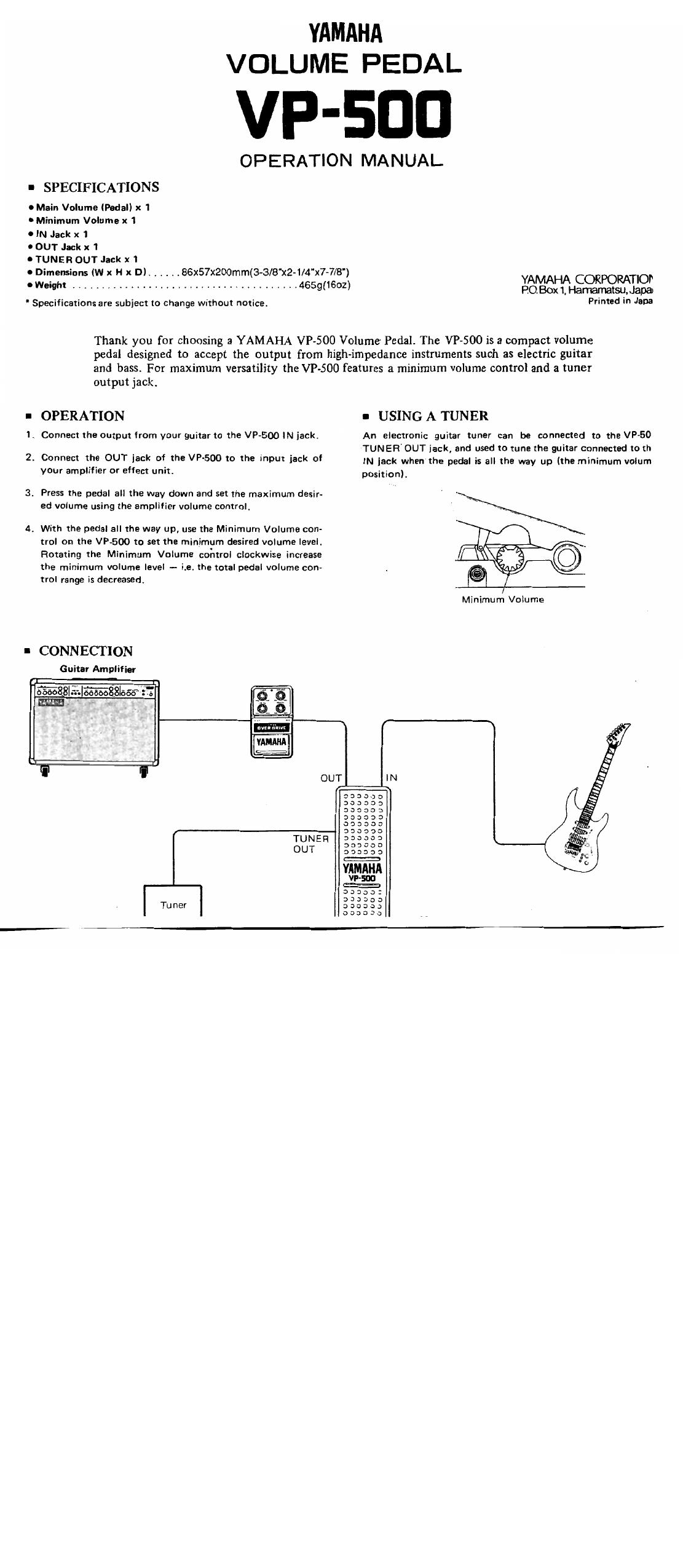 Yamaha Vp 500 User Manual Manualzz