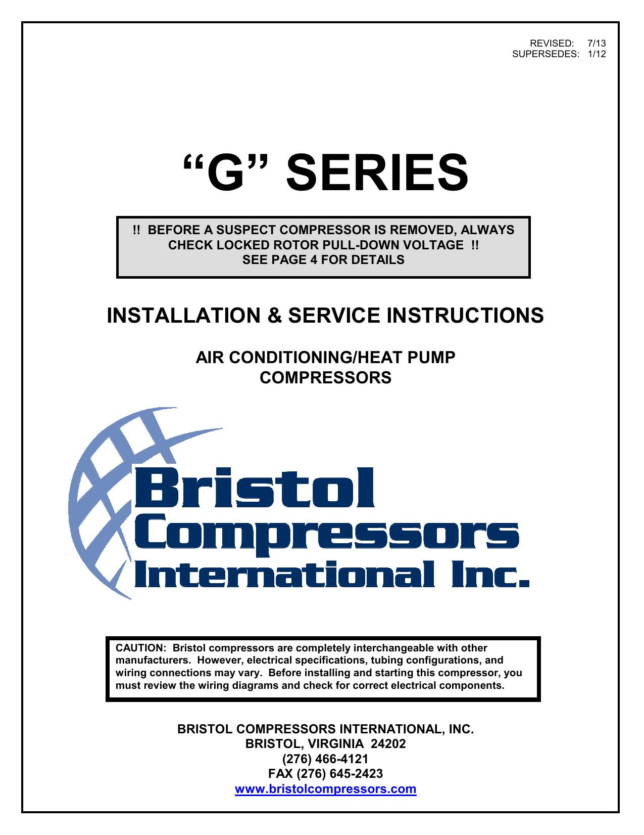 G Series Bristol Compressors Manualzz