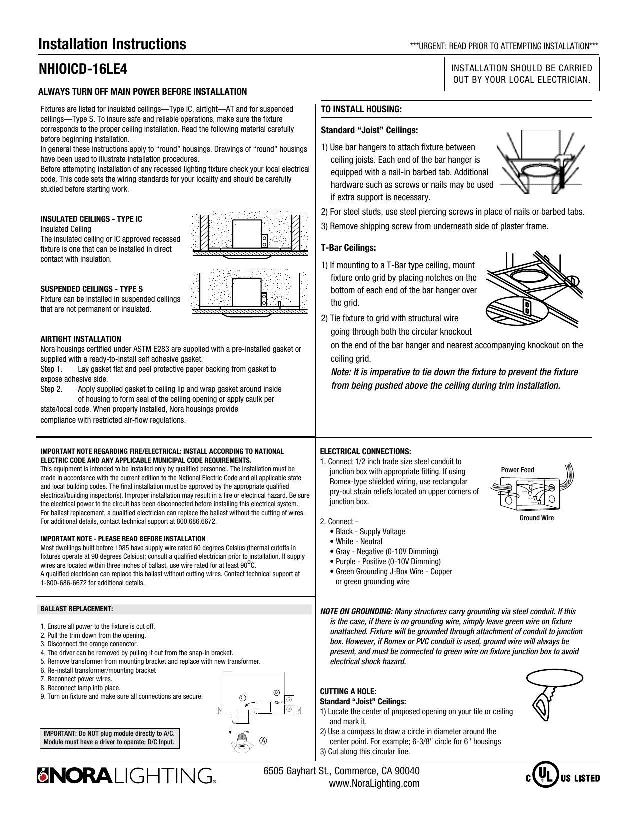 Installation Instructions Wiring Through Studs