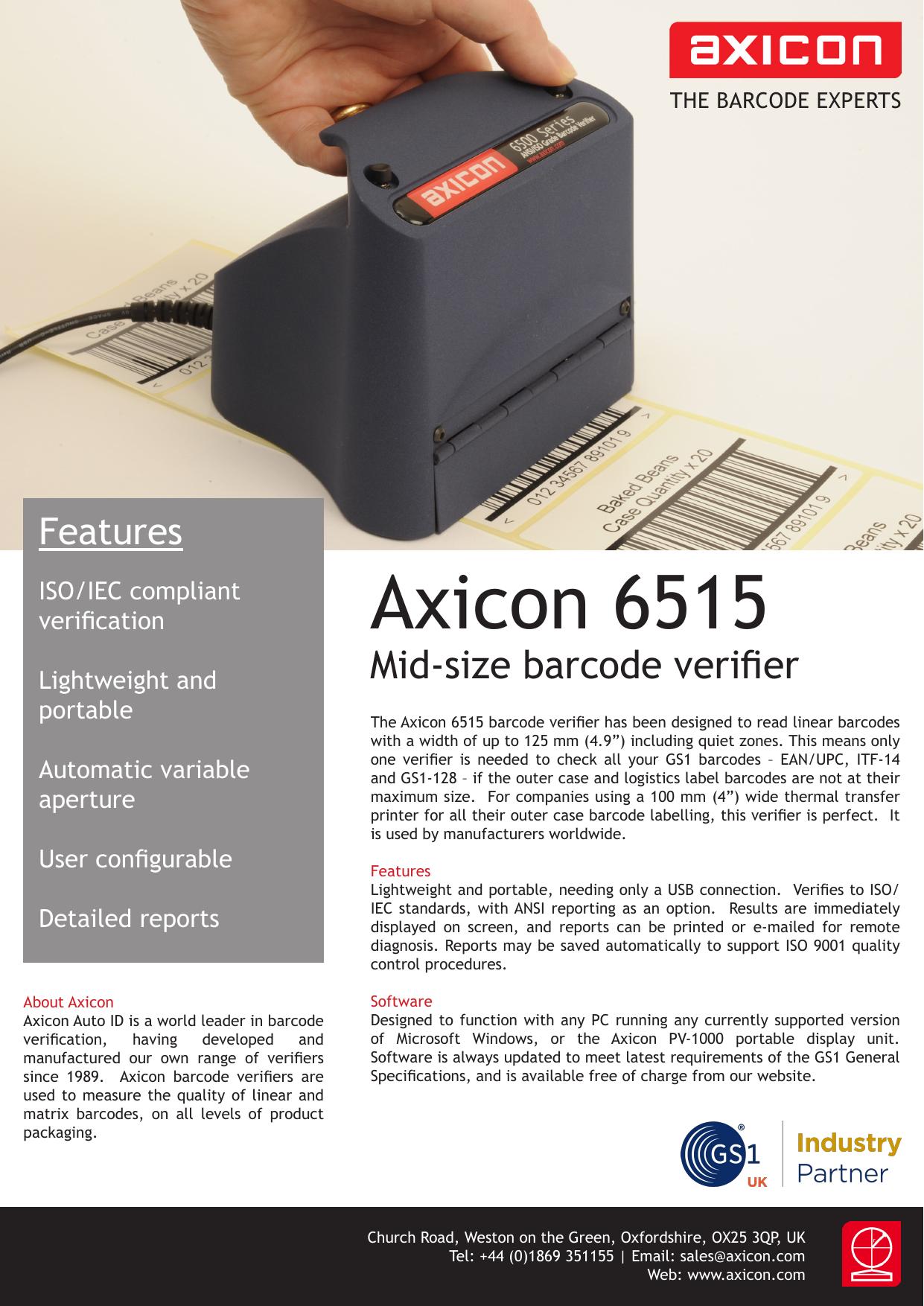 Barcode Verification axicon 6515 | manualzz