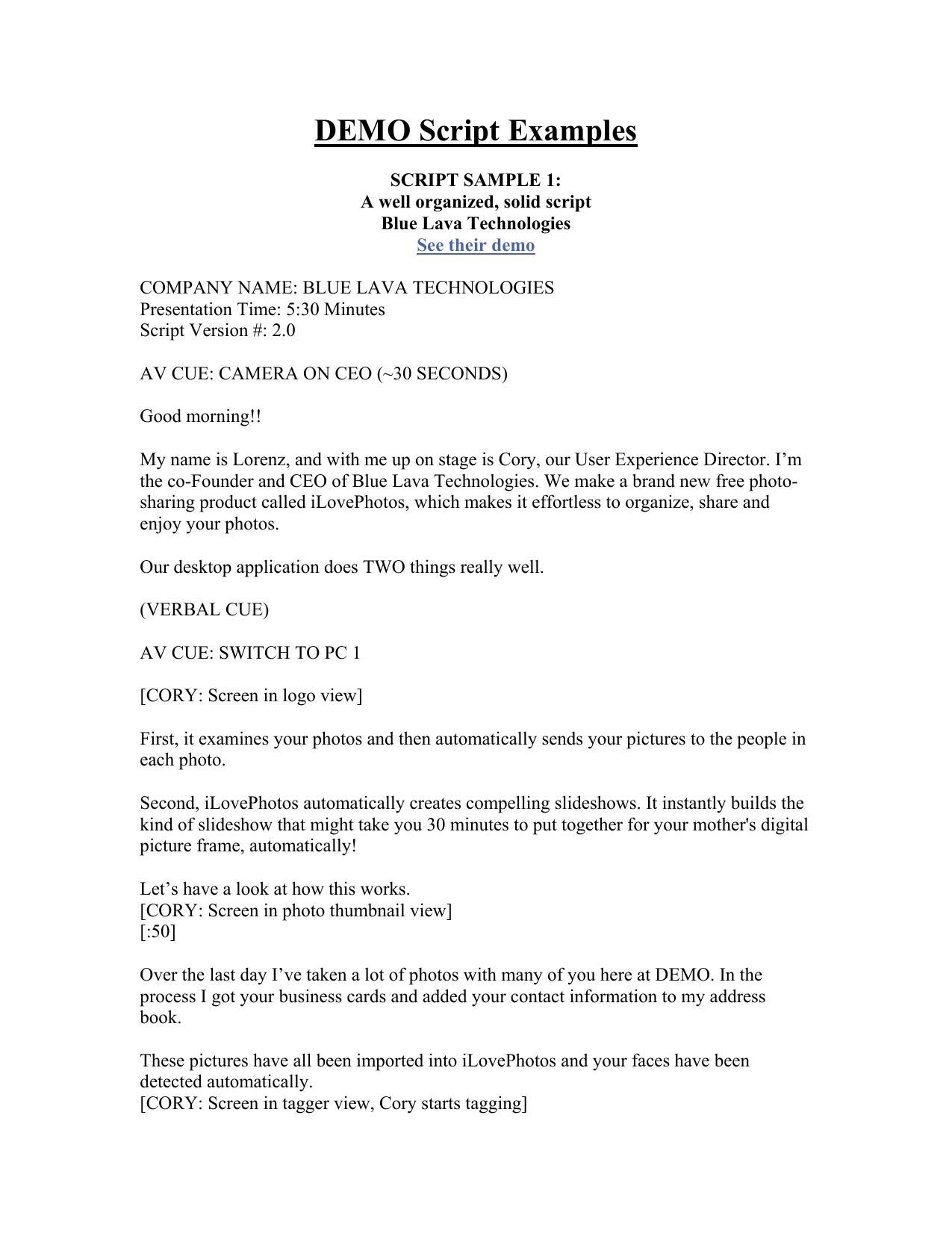 DEMO Script Examples SCRIPT SAMPLE 1 | manualzz com