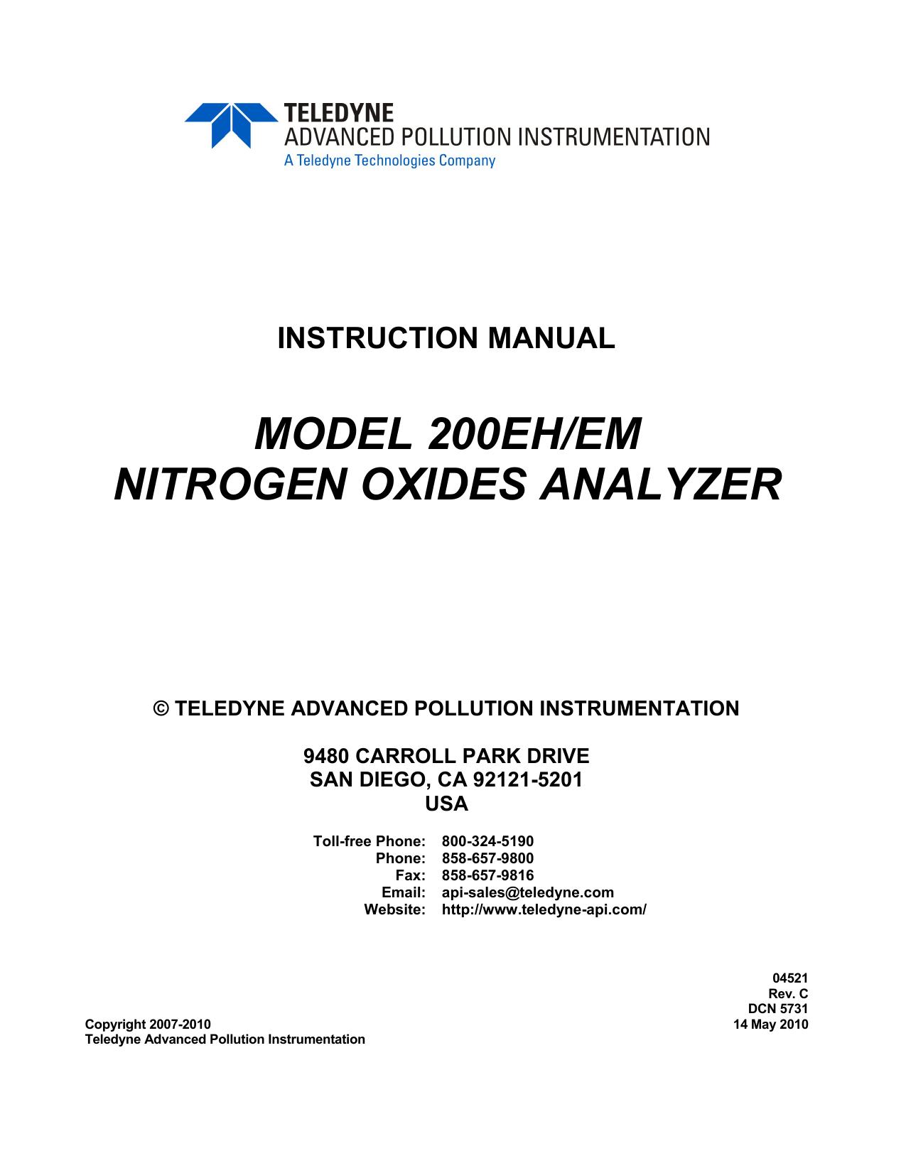 Teledyne Api Model 200eh Em Operation Manual 220v 3g Ozone Generator Tube Circuit Board Hour 40w For