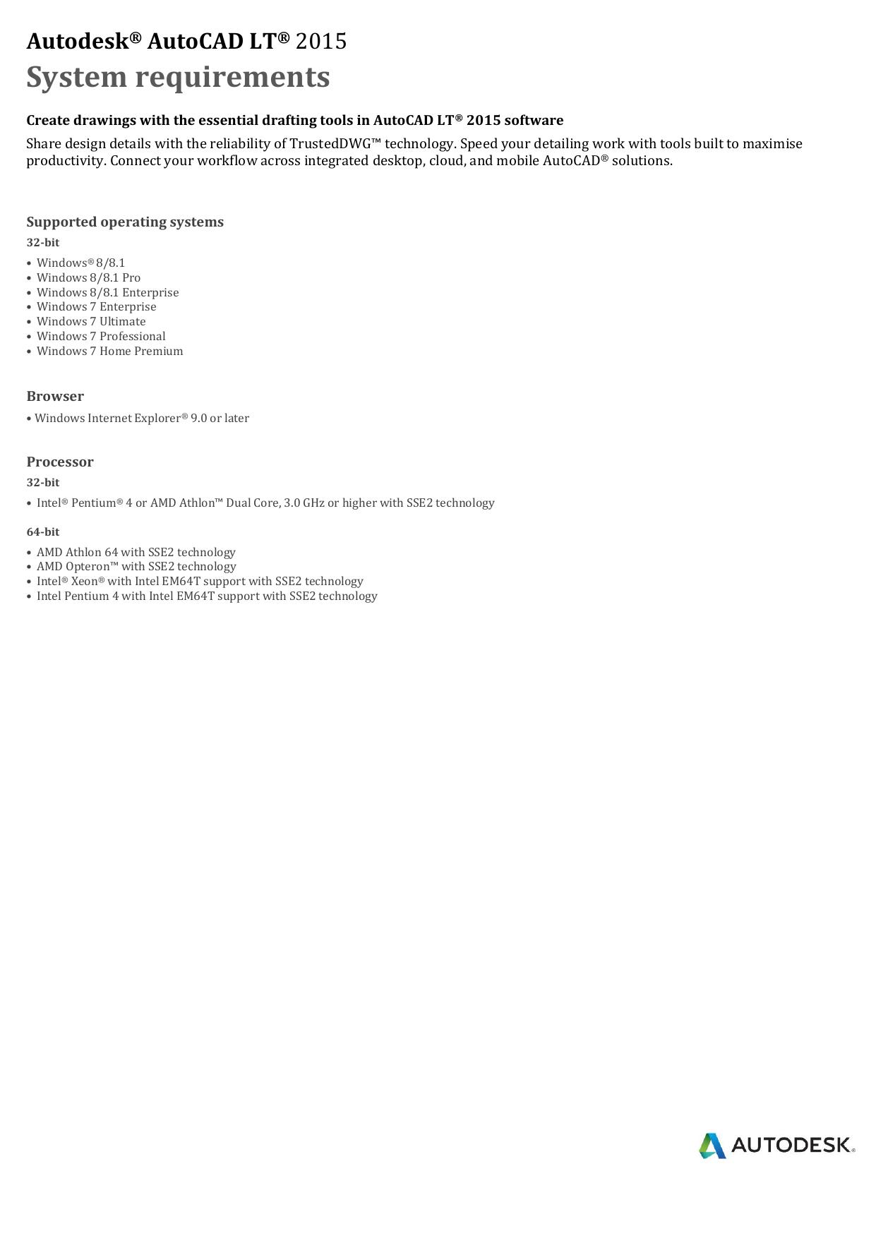 Autodesk AutoCAD LT System requirements | manualzz com