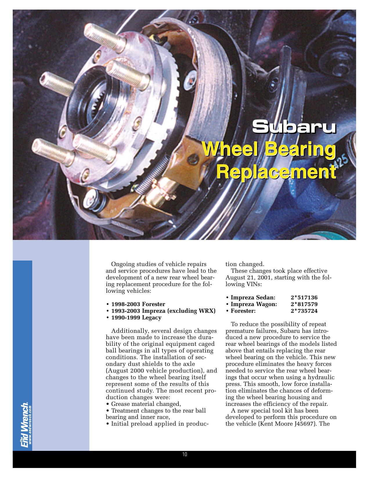 Subaru Wheel Bearing Replacement Subaru - Ludicrous