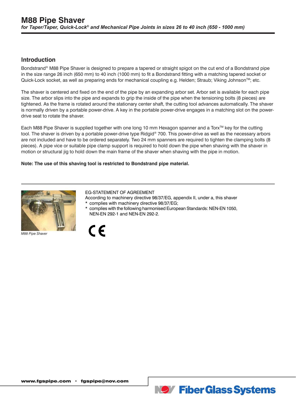 M88 Pipe Shaver - National Oilwell Varco | manualzz com