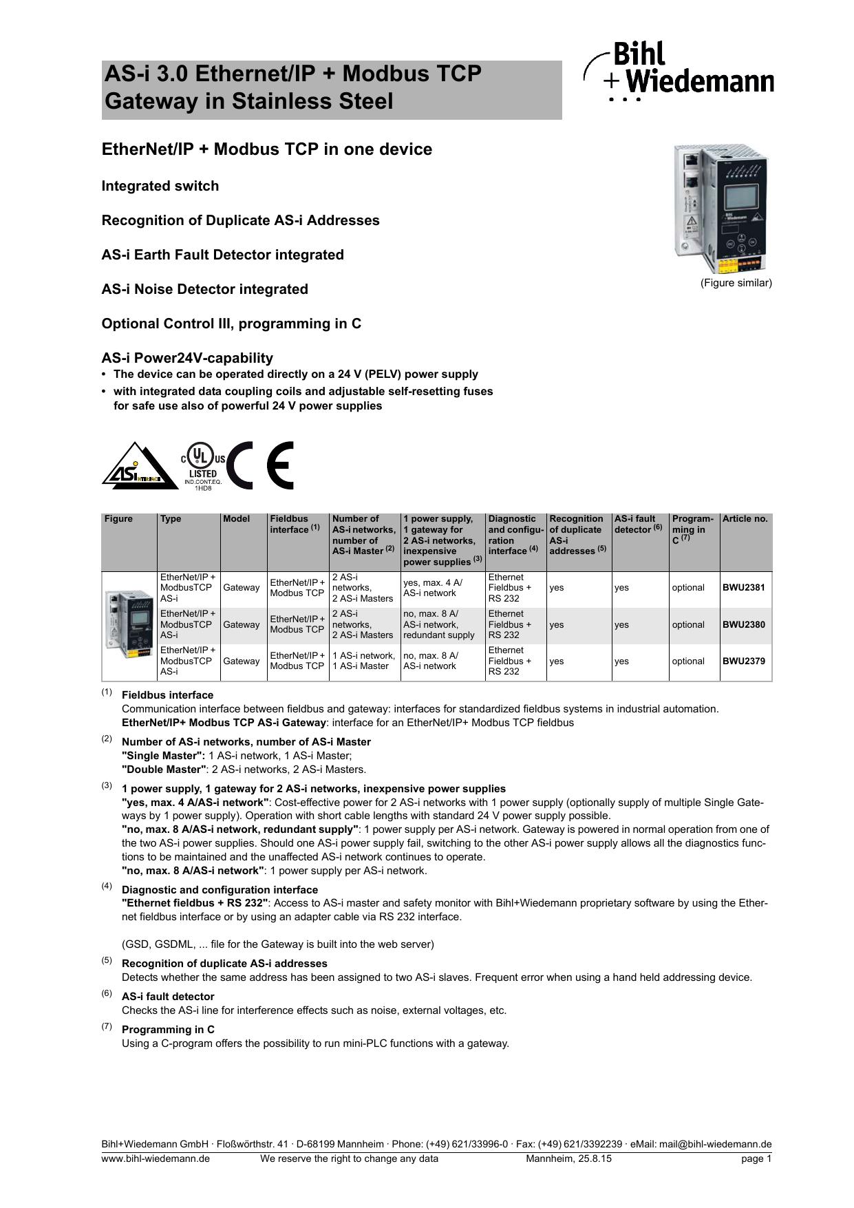 AS-i 3 0 Ethernet/IP + Modbus TCP Gateway in   manualzz com