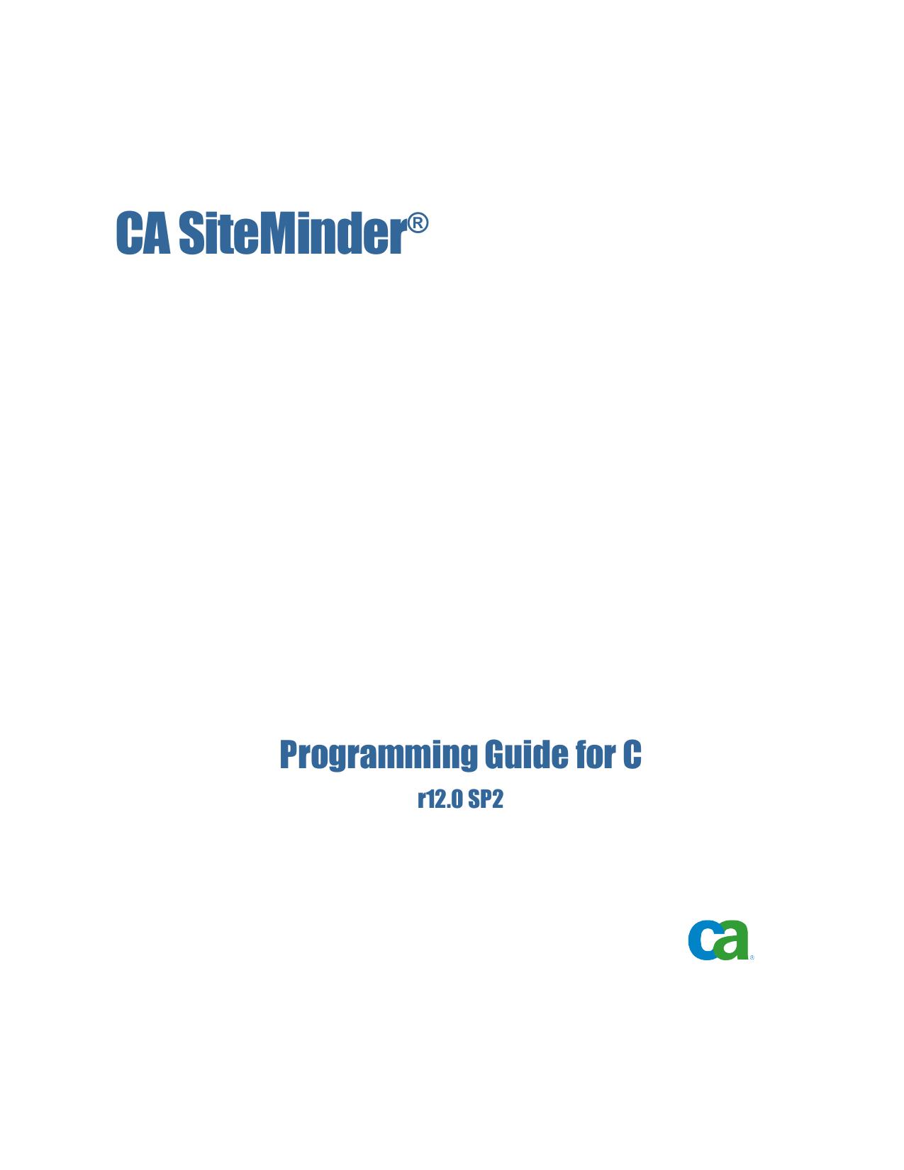 CA SiteMinder Programming Guide for C | manualzz com