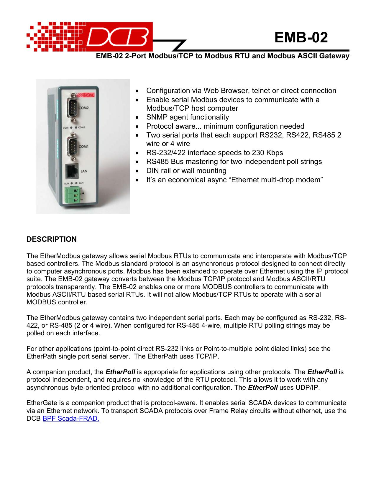 EMB-02 Modbus Gateway - Data Comm for Business Inc  | manualzz com