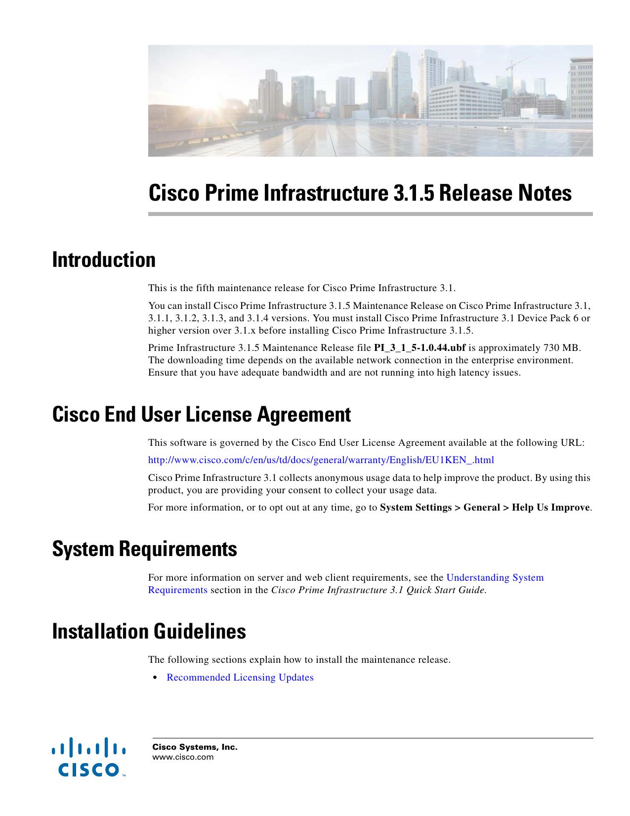 Cisco Prime Infrastructure 3 1 5 Release Notes | manualzz com