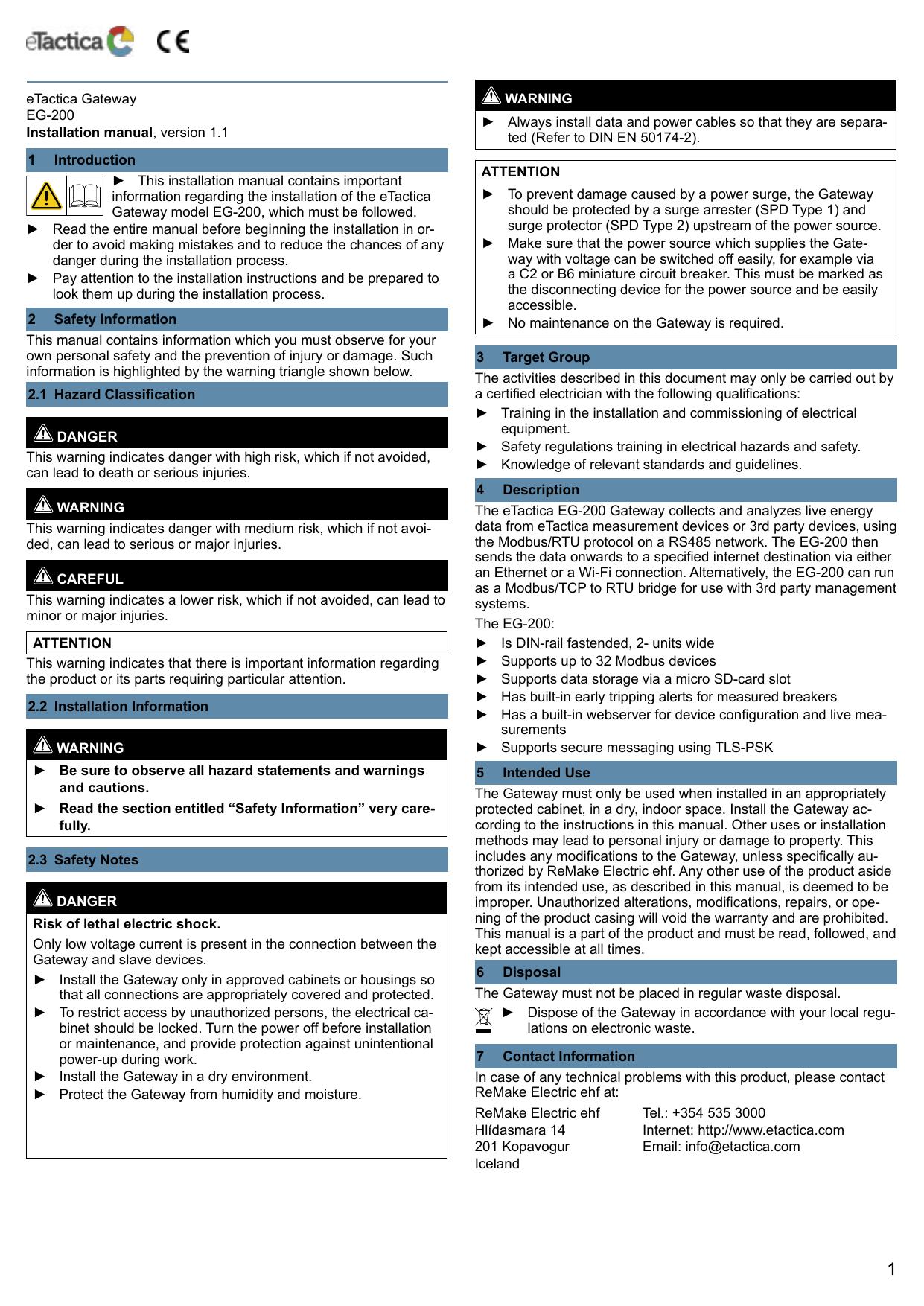 eTactica Gateway EG-200 Installation manual, version 1 1 1