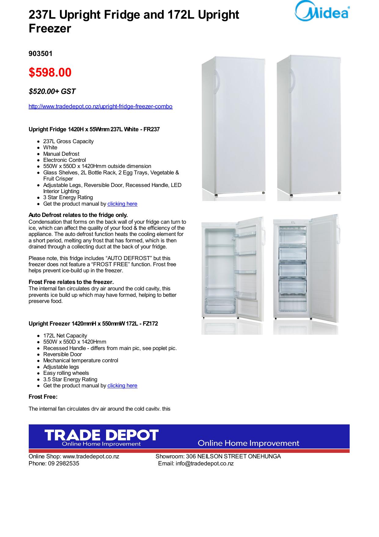 598 00 237L Upright Fridge and 172L Upright Freezer
