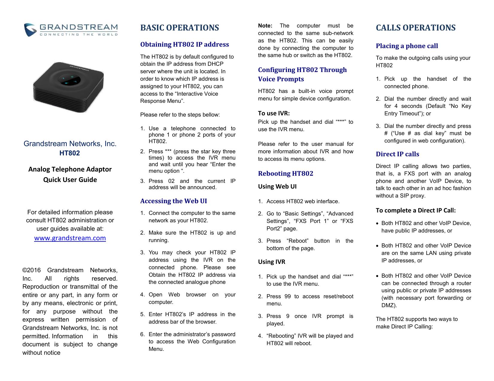 Grandstream HT802 Quick User Guide | manualzz com