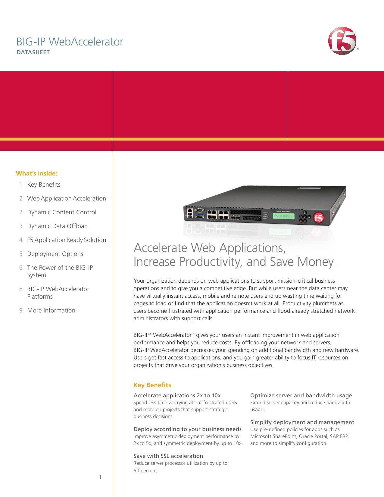 BIG‑IP WebAccelerator | F5 Datasheet | manualzz com