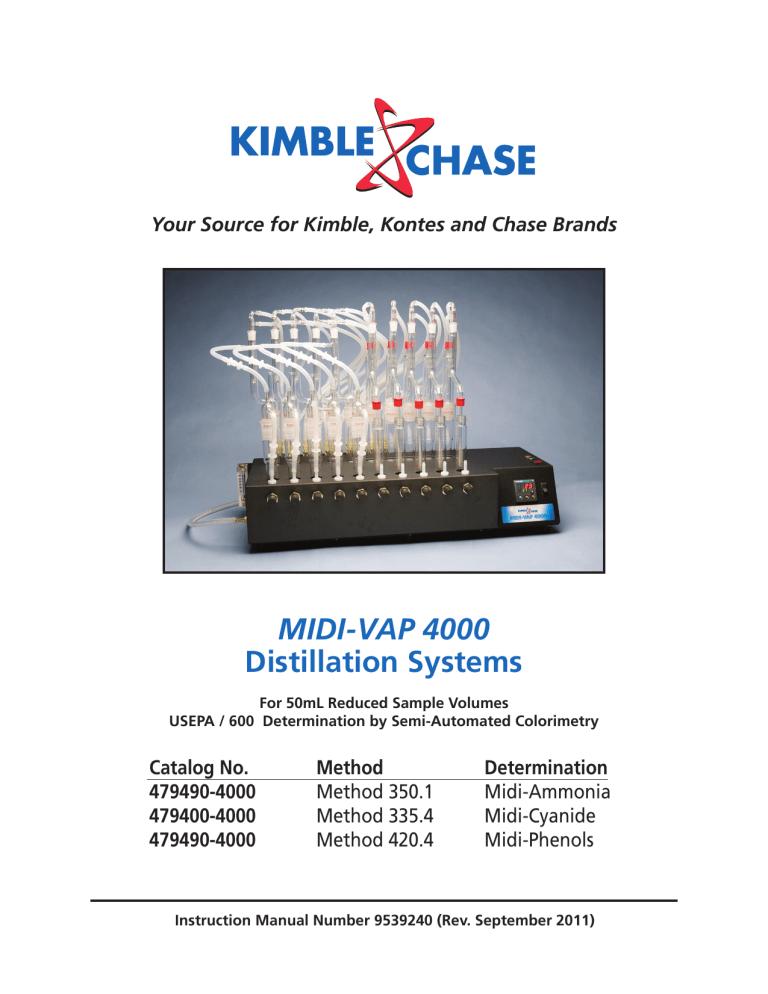 Kimble Distilling Head for MIDI-VAP 4000 Ammonia//Phenol Distillation System