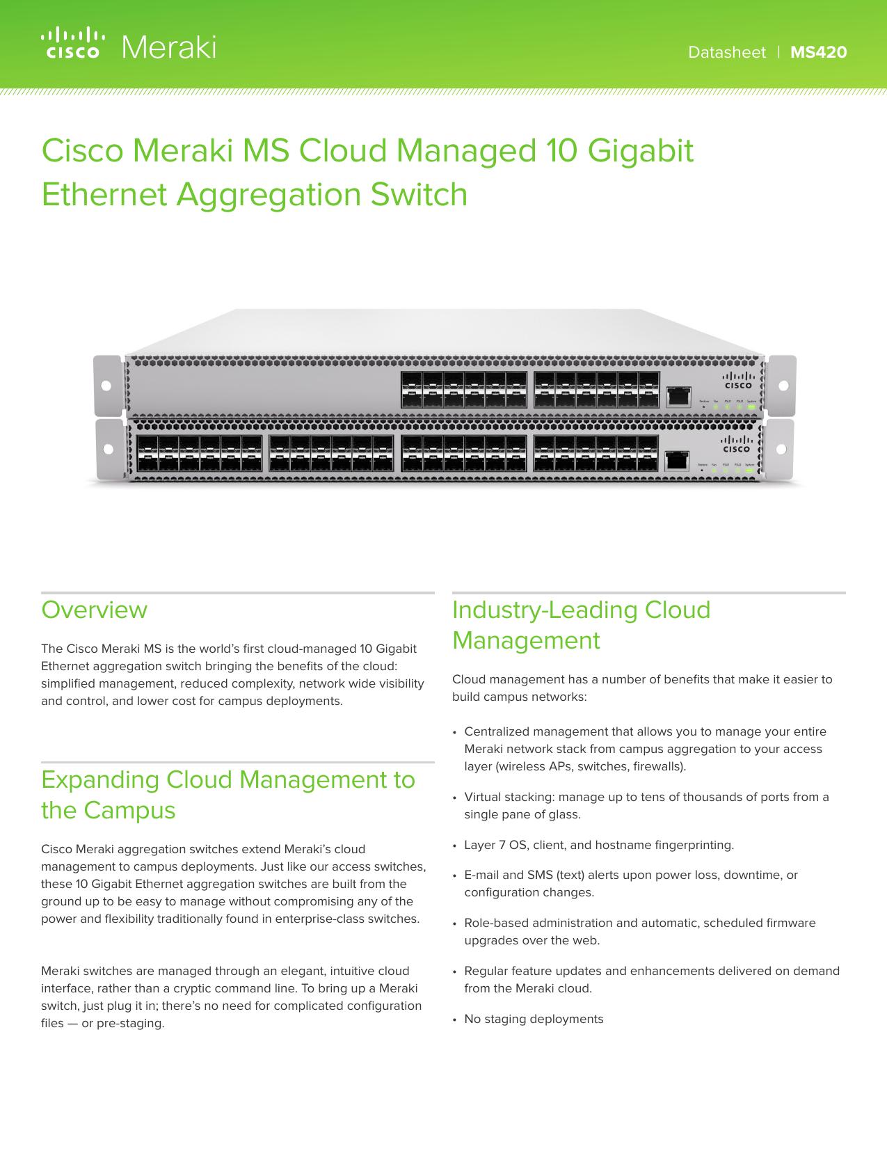 Cisco Meraki MS Cloud Managed 10 Gigabit Ethernet