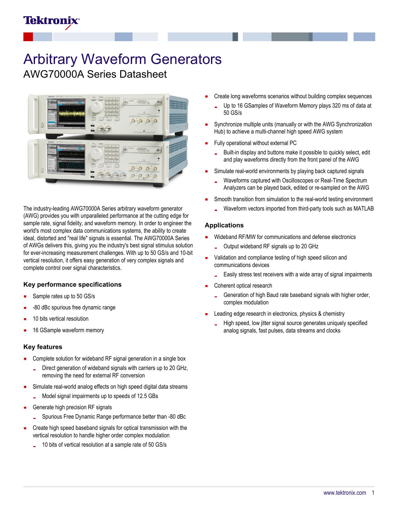 AWG70000A Arbitrary Waveform Generator Datasheet | manualzz com