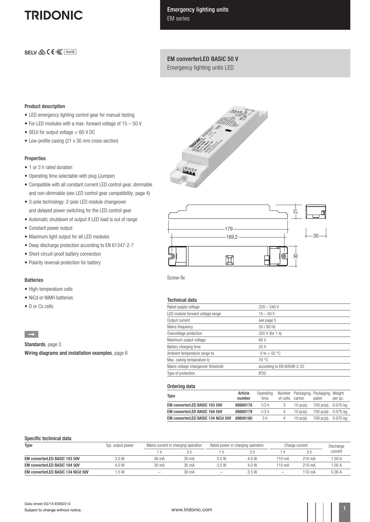 Box of 10 Tridonic EM Converter LED Pro 104 50v