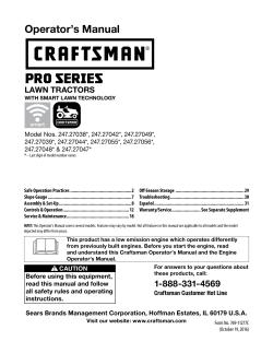 Craftsman ProSeries 27038 - Owner's manual