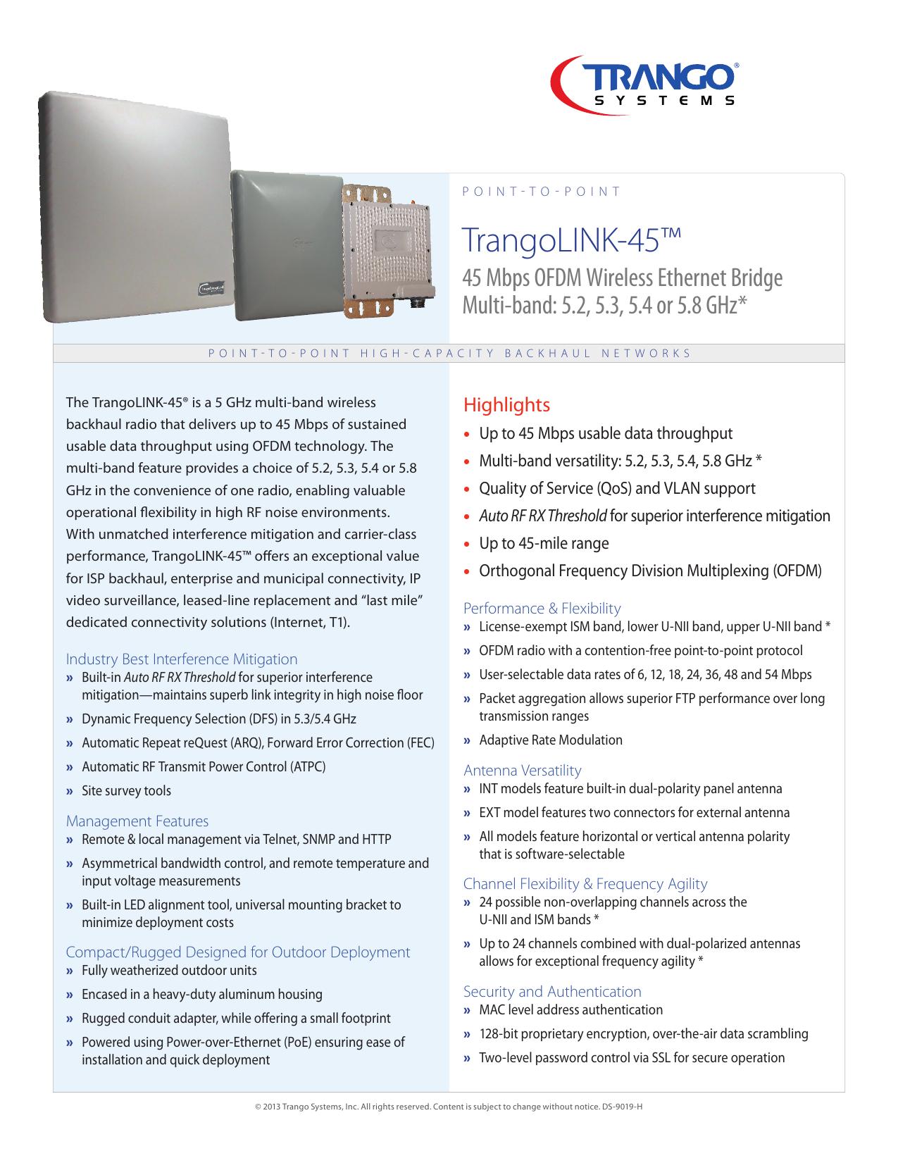 TrangoLINK-45 Multi-Band 5 x GHz OFDM Wireless Ethernet