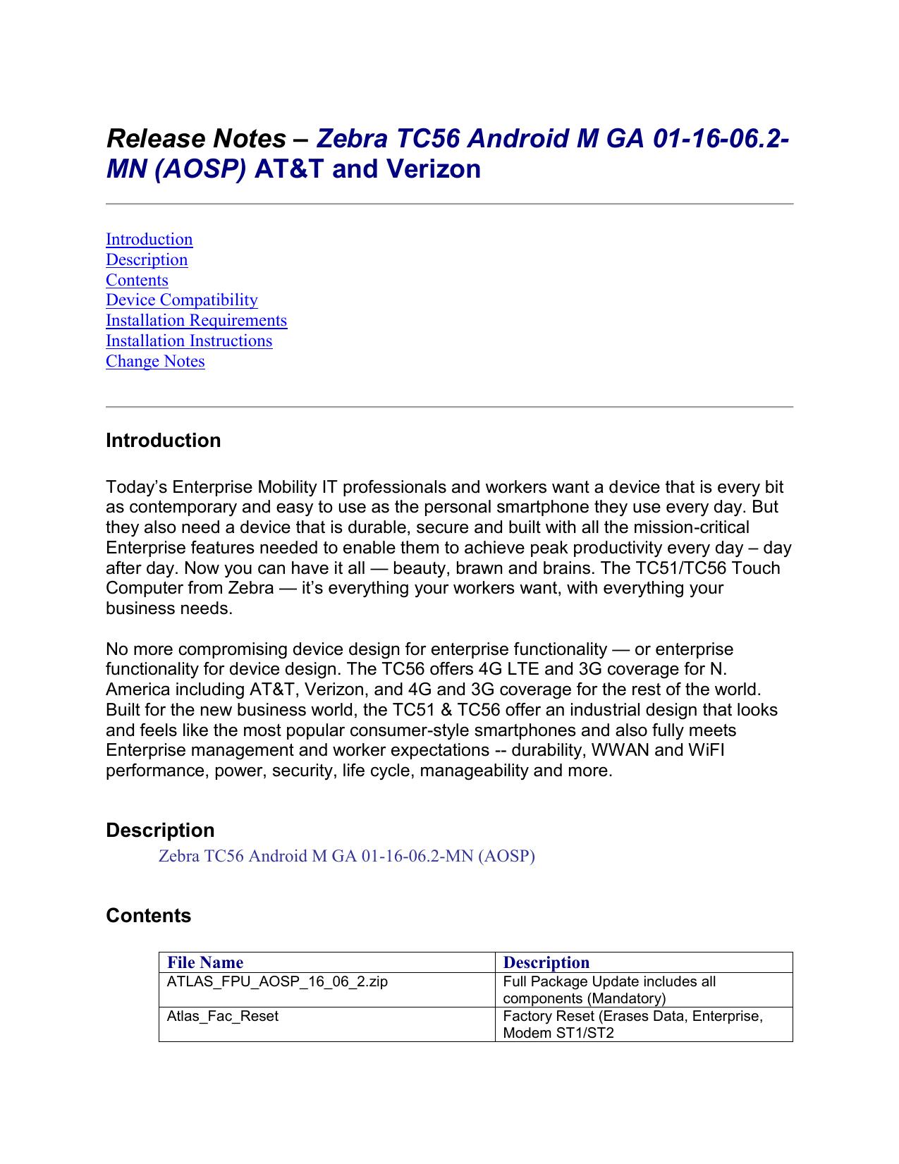 Release Notes – Zebra TC56 Android M GA 01-16-06-2