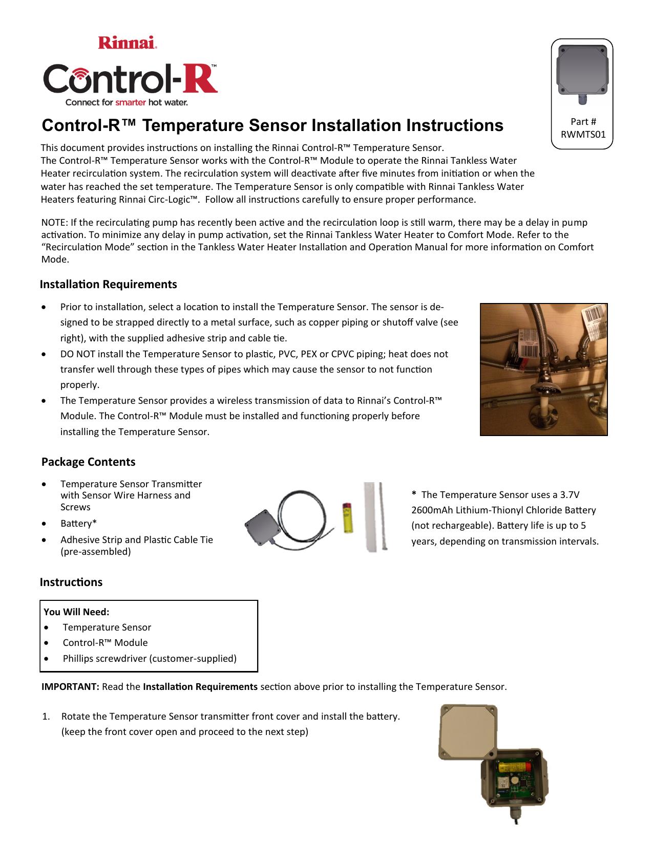 Control-R™ Temperature Sensor Installation Instructions | manualzz com