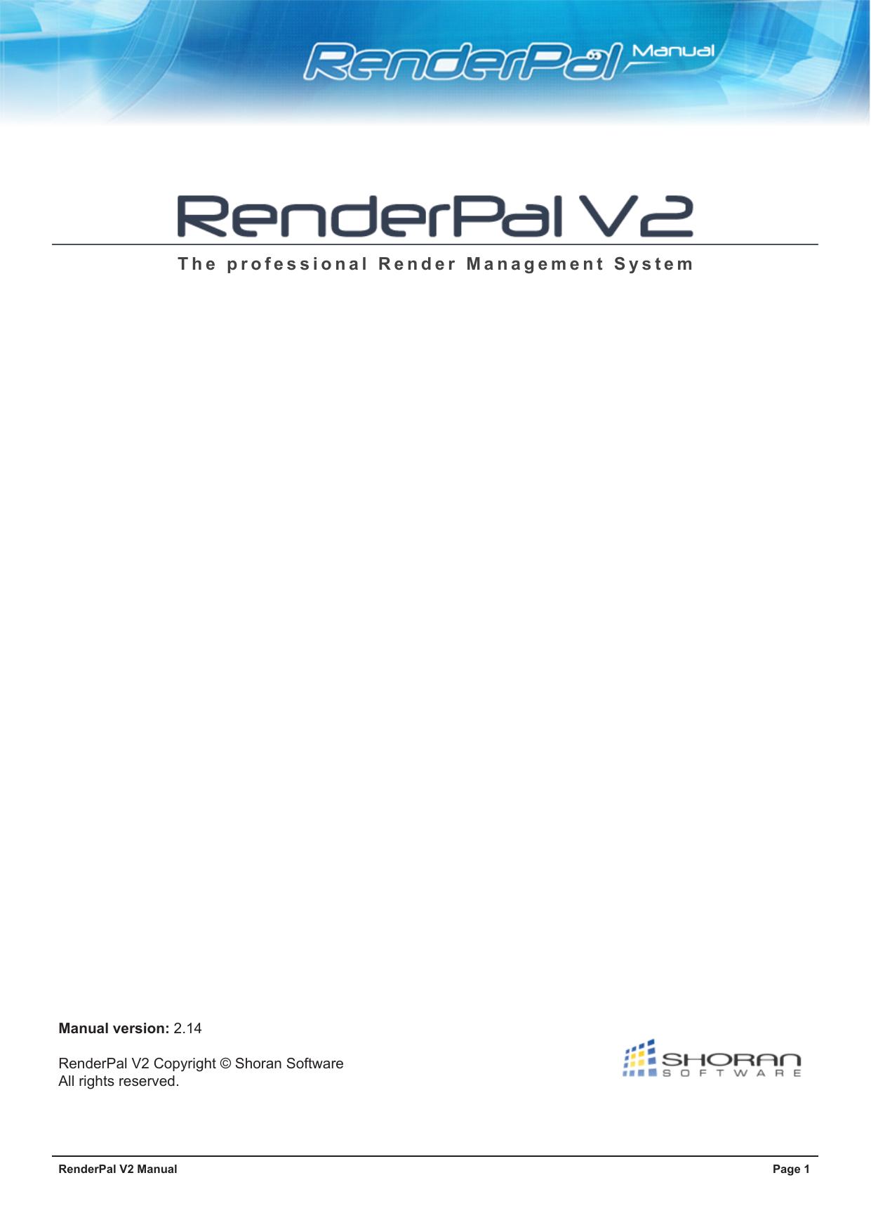RenderPal V2 Manual | manualzz com