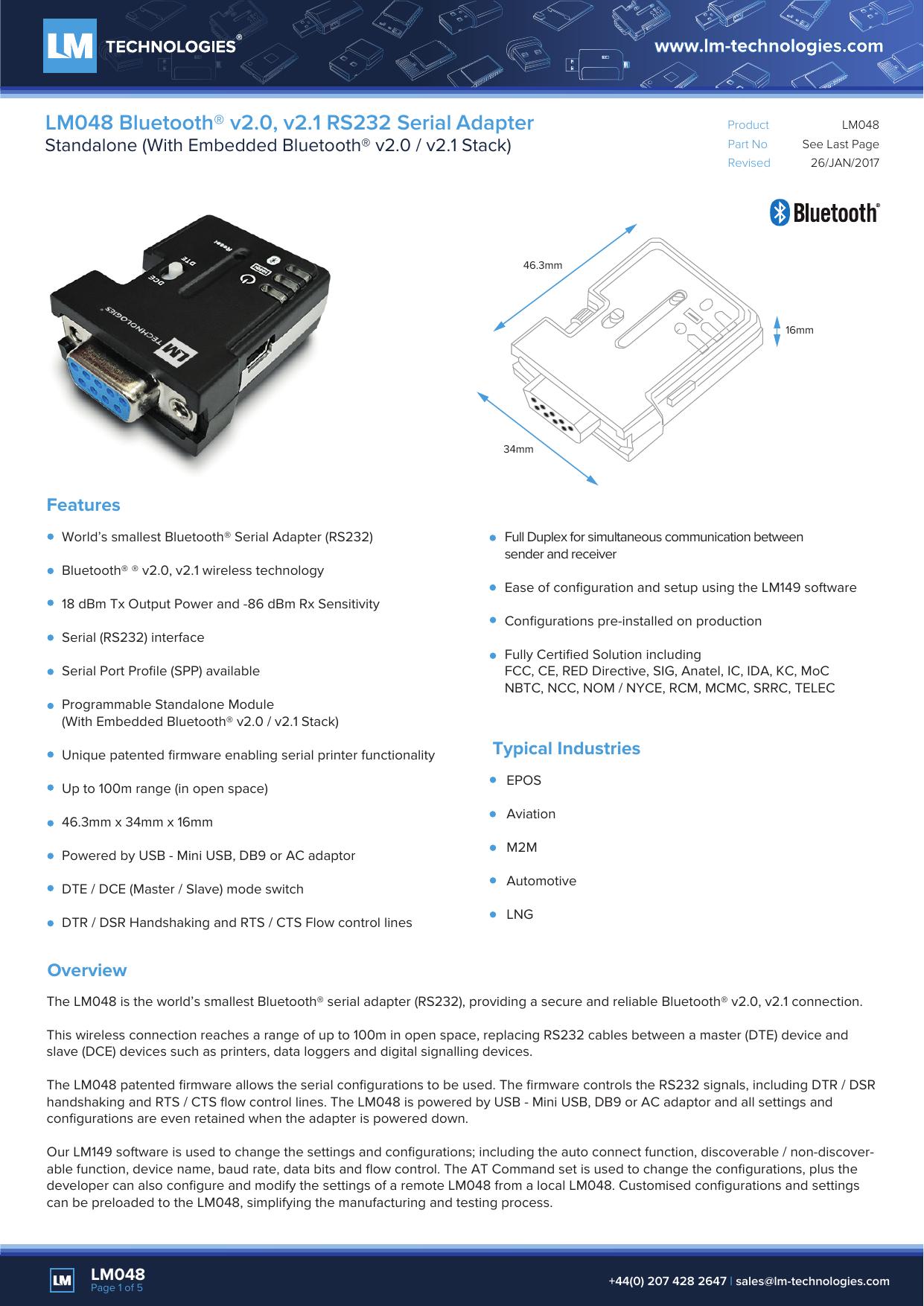 LM048 Bluetooth® v2 0, v2 1 RS232 Serial Adapter | manualzz com