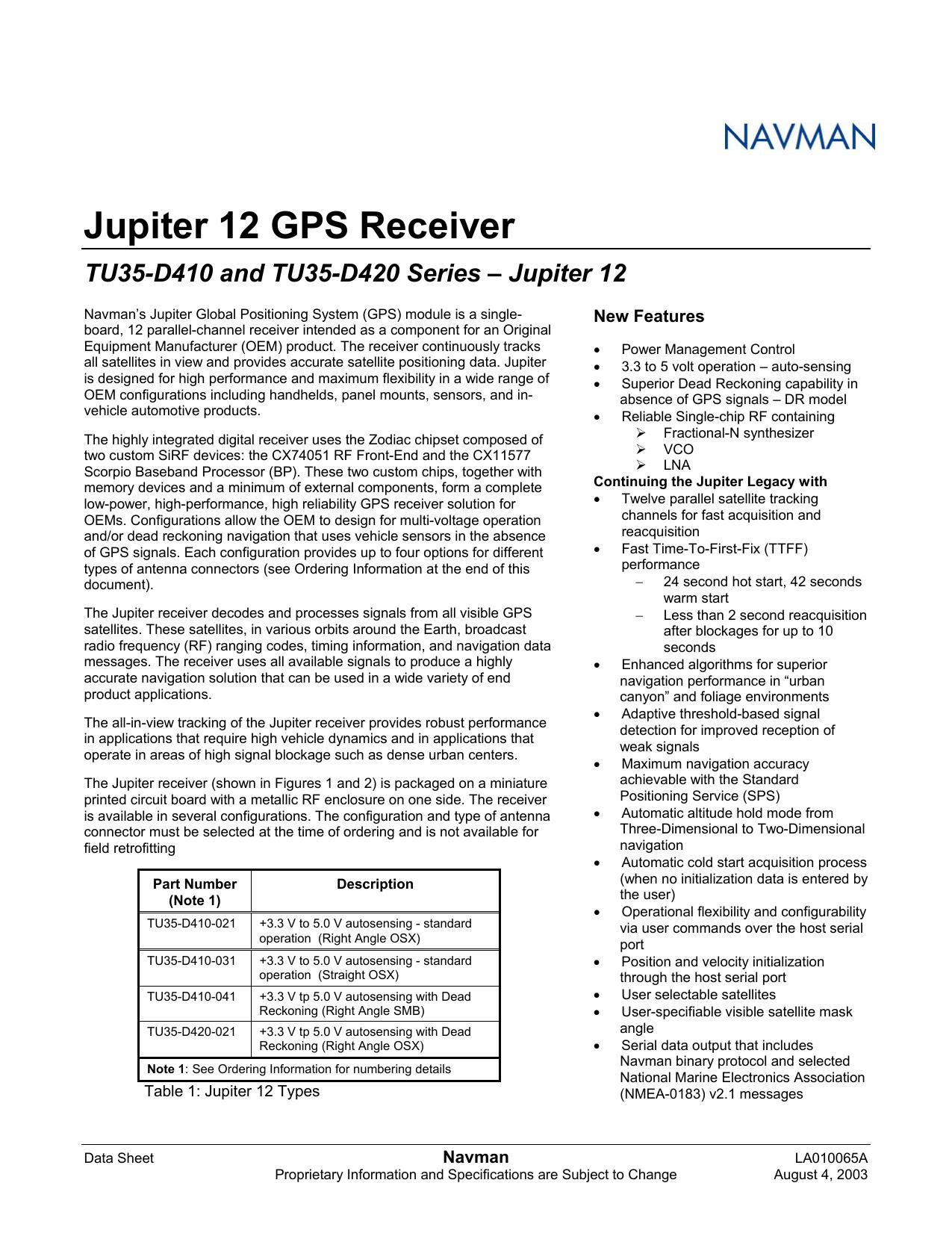 Jupiter 12 GPS Receiver TU35-D410 and TU35-D420 | manualzz com
