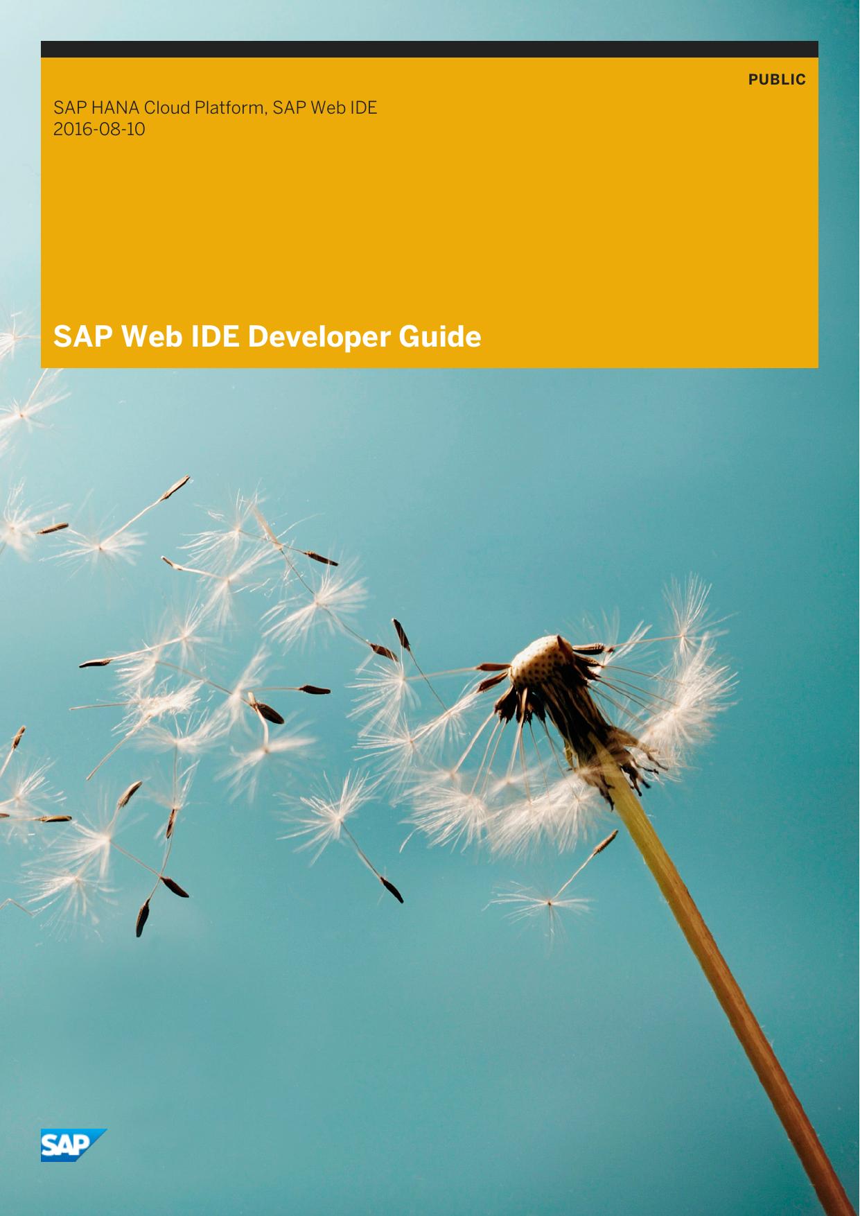 SAP Web IDE Developer Guide | manualzz com
