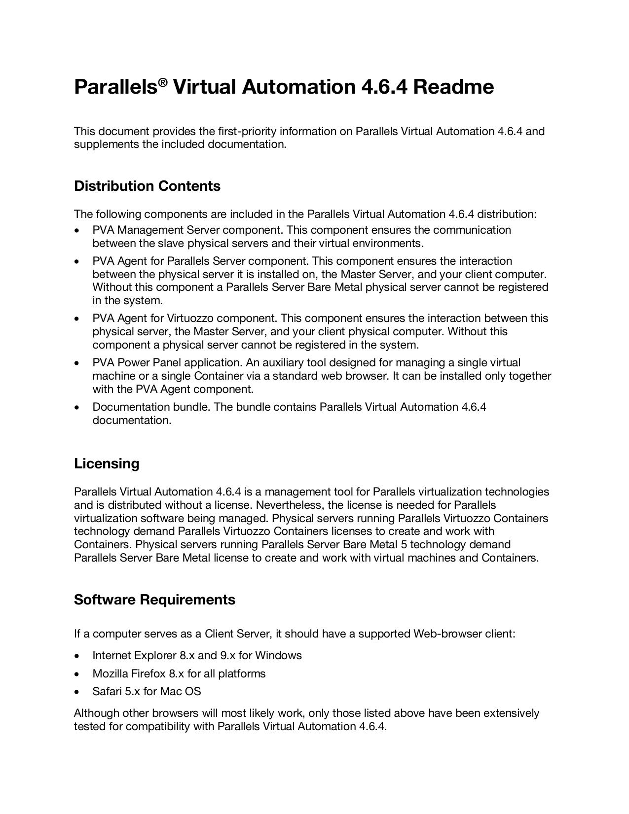 Parallels® Virtual Automation 4 6 4 Readme   manualzz com