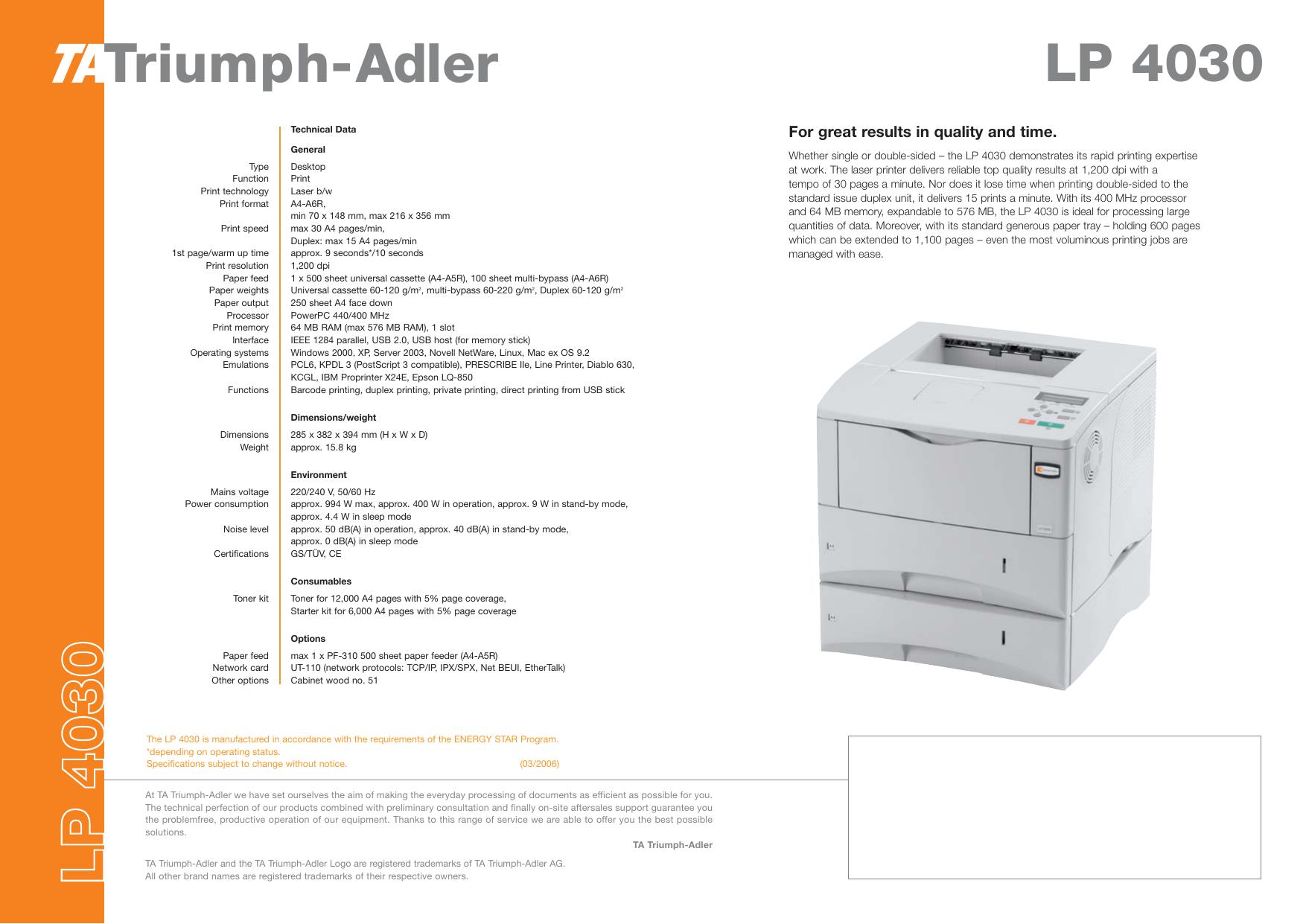 Triumph-Adler L P 4 0 3 0 - 1a-gebrauchte   manualzz com
