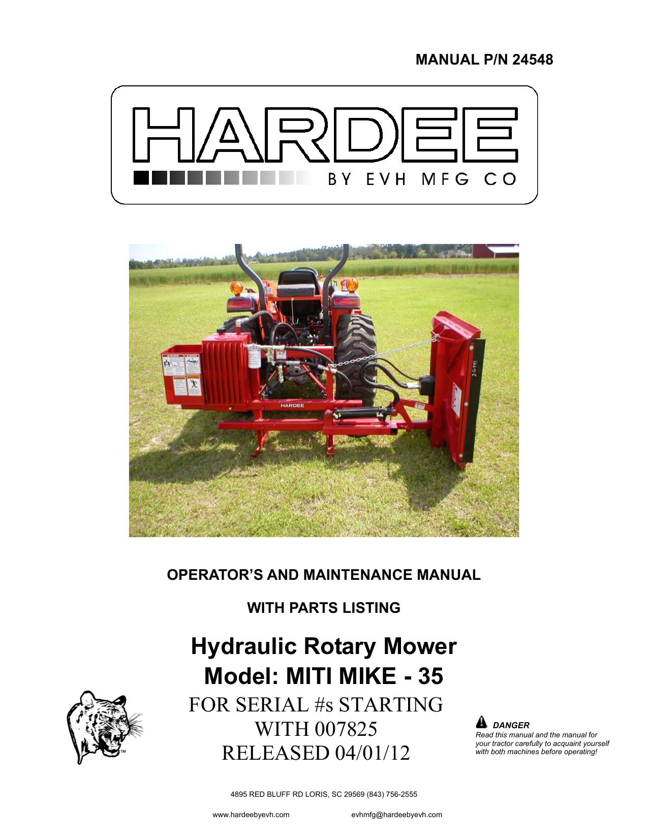 Open file - Hardee by EVH Mfg  | manualzz com