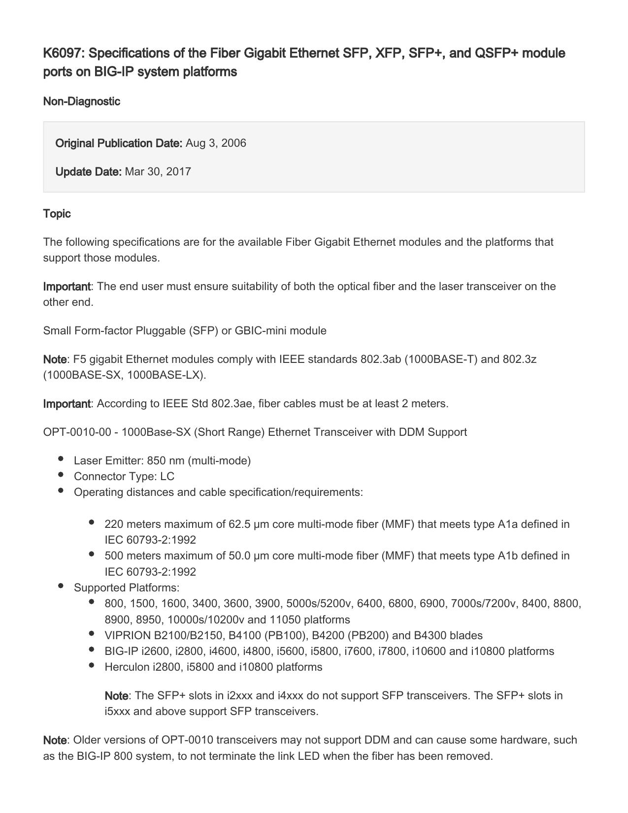 K6097: Specifications of the Fiber Gigabit Ethernet SFP, XFP, SFP+