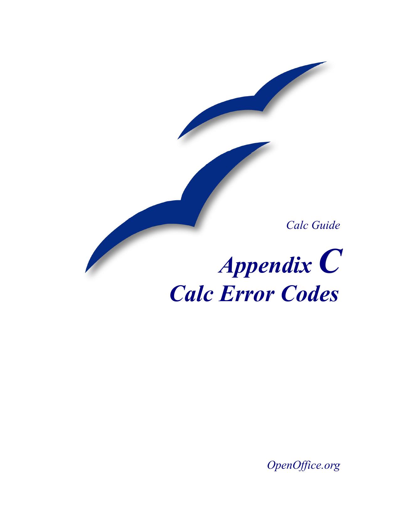 Calc Error Codes - Apache OpenOffice Wiki | manualzz com