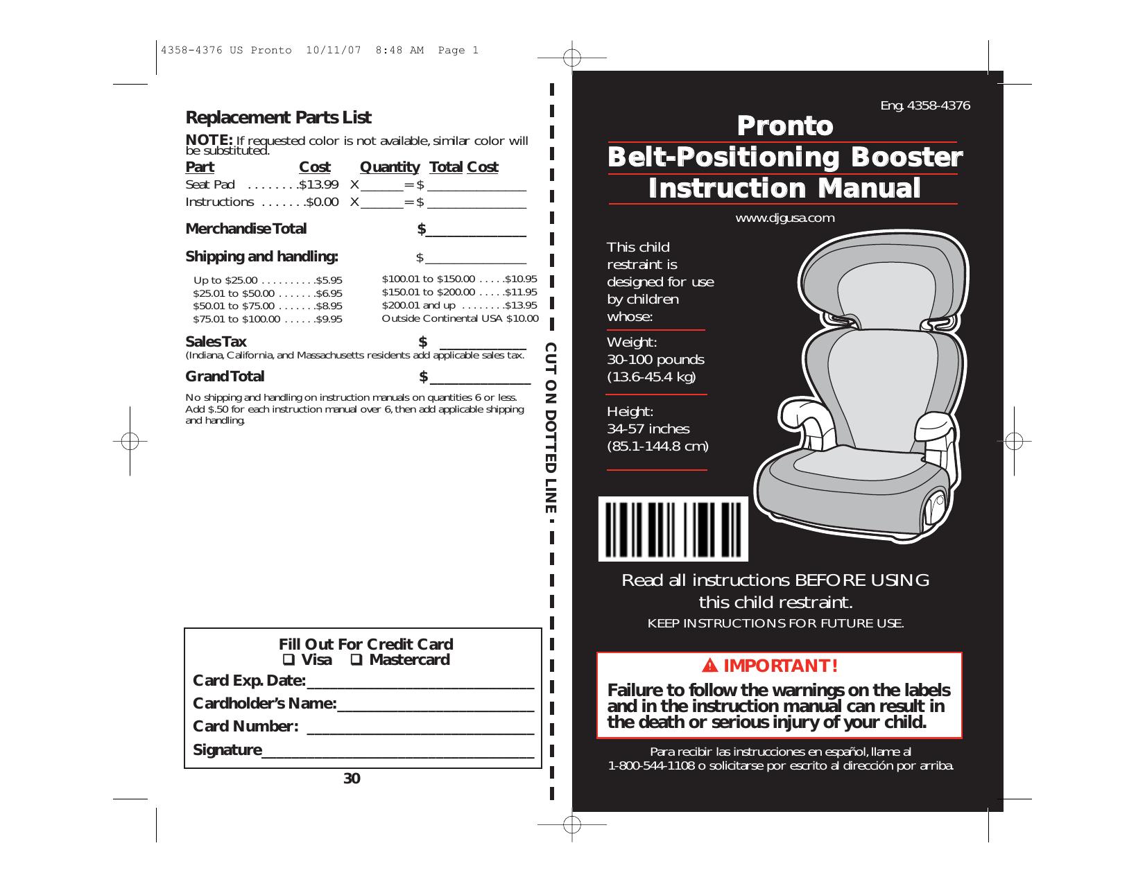 pronto belt positioning booster instruction manual manualzz com rh manualzz com Us Continental States USA Map