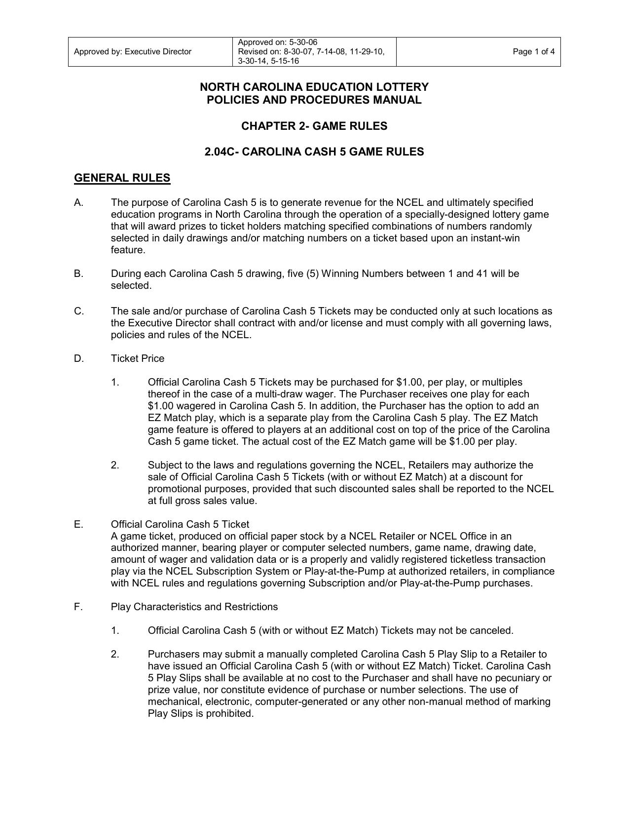 Carolina Cash 5 Game Rules | manualzz com
