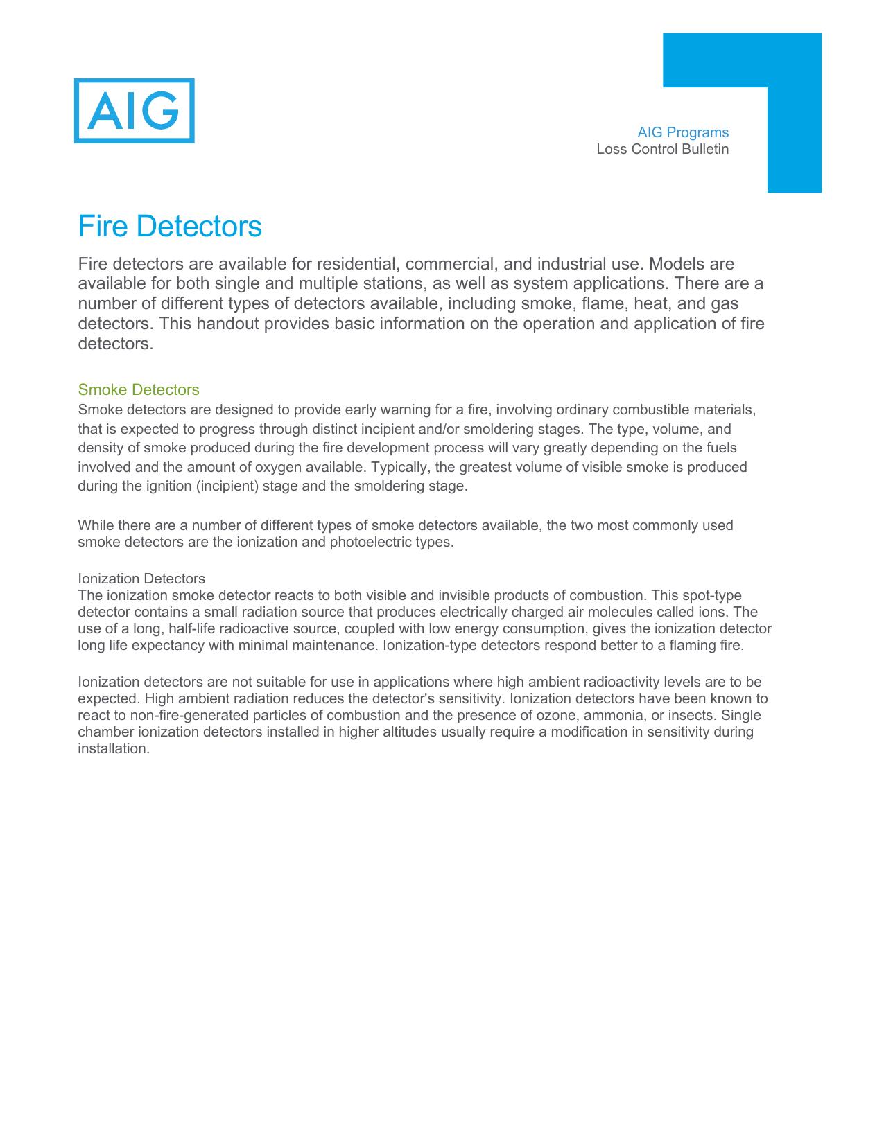 Fire Detectors Manualzz