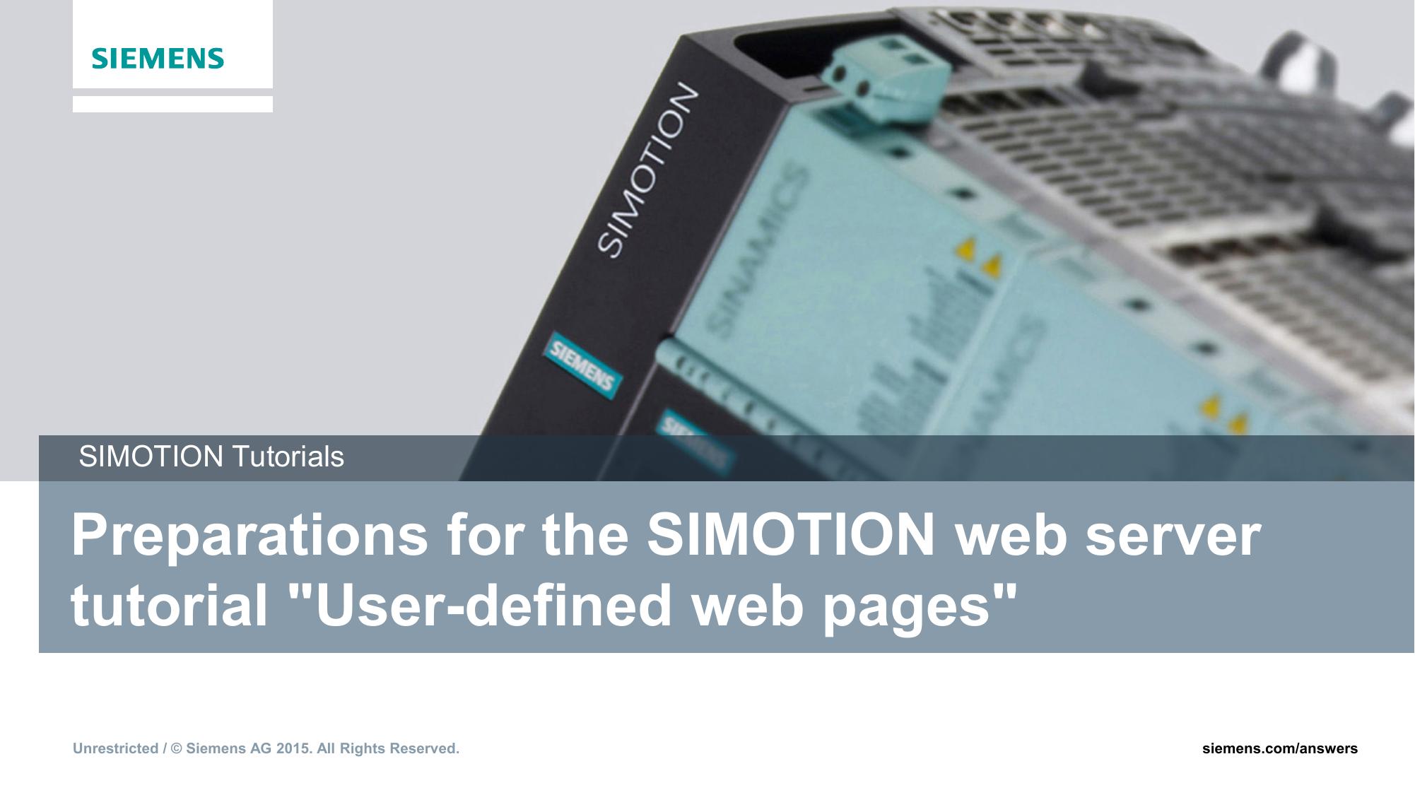 Vorbereitungen zum SIMOTION Webserver Tutorial | manualzz com