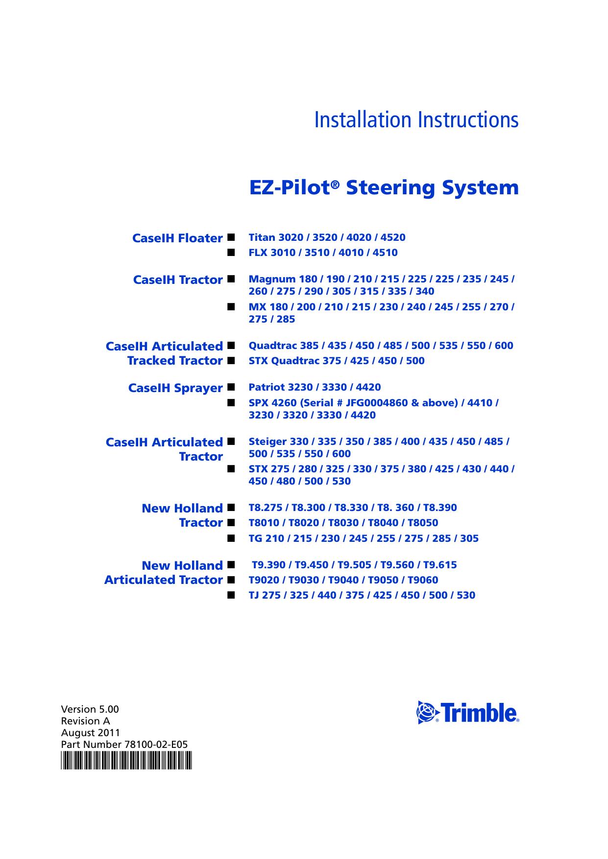 EZ-Pilot Steering System Installation Instructions