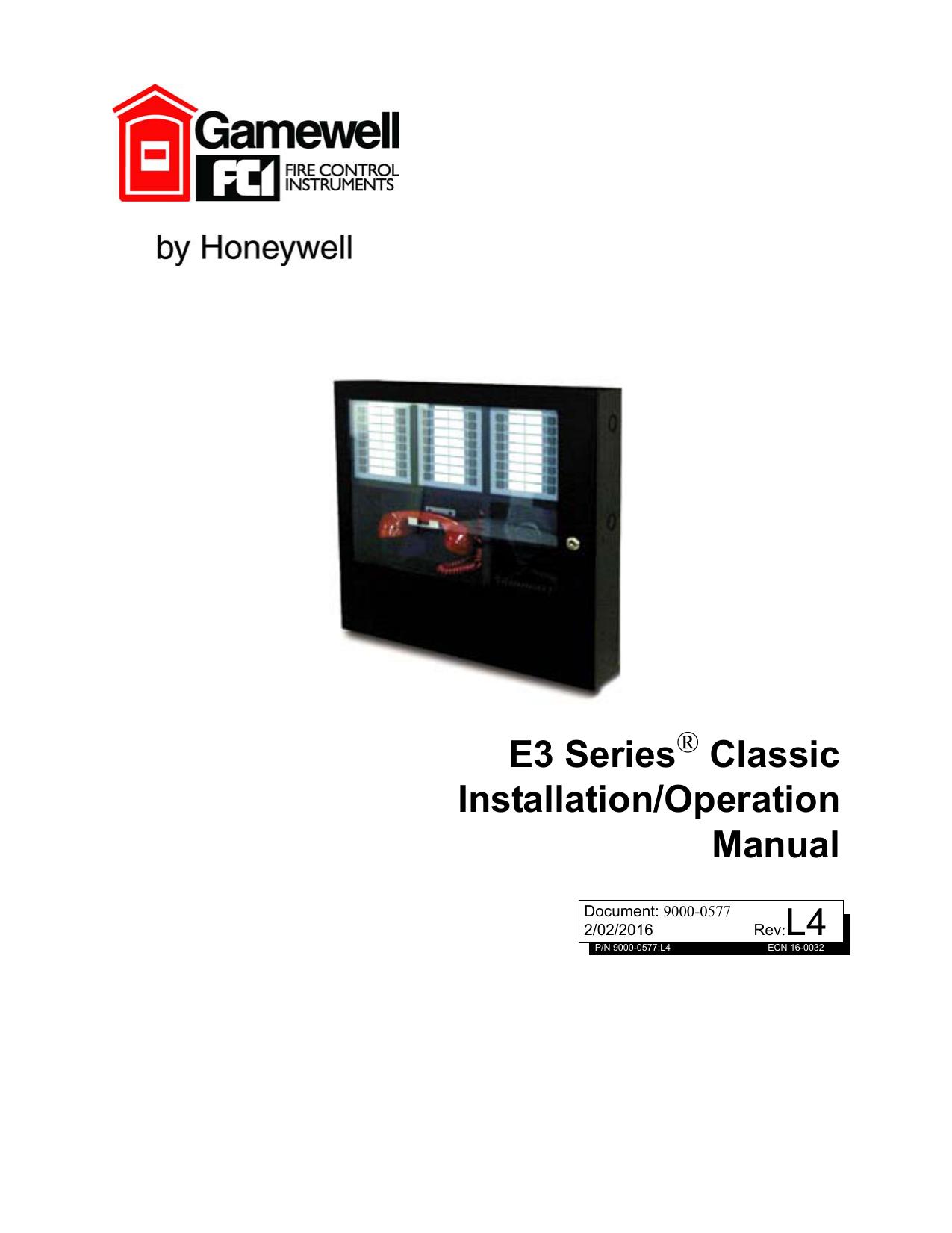 l4 e3 series classic installation/operation manual