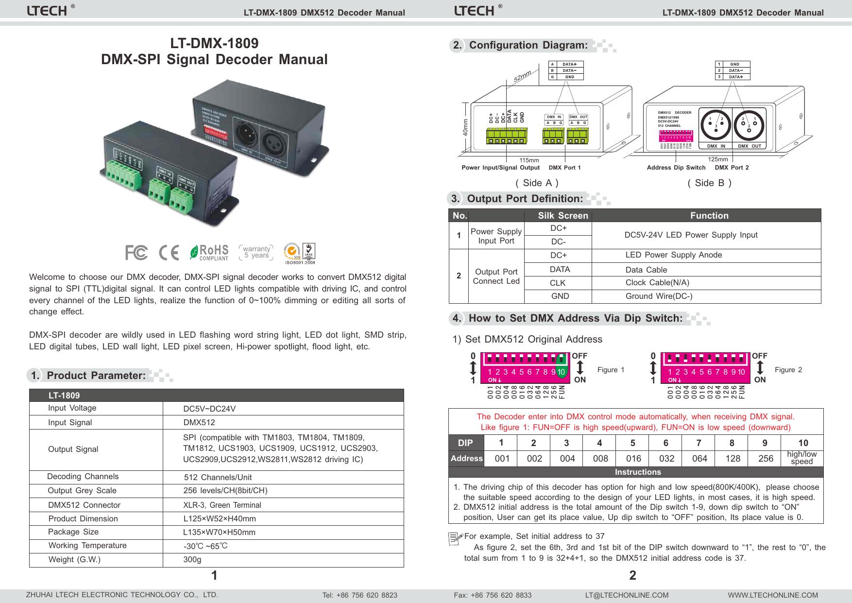 LT-1809 DMX512 DECODER-G20140101 cdr | manualzz com