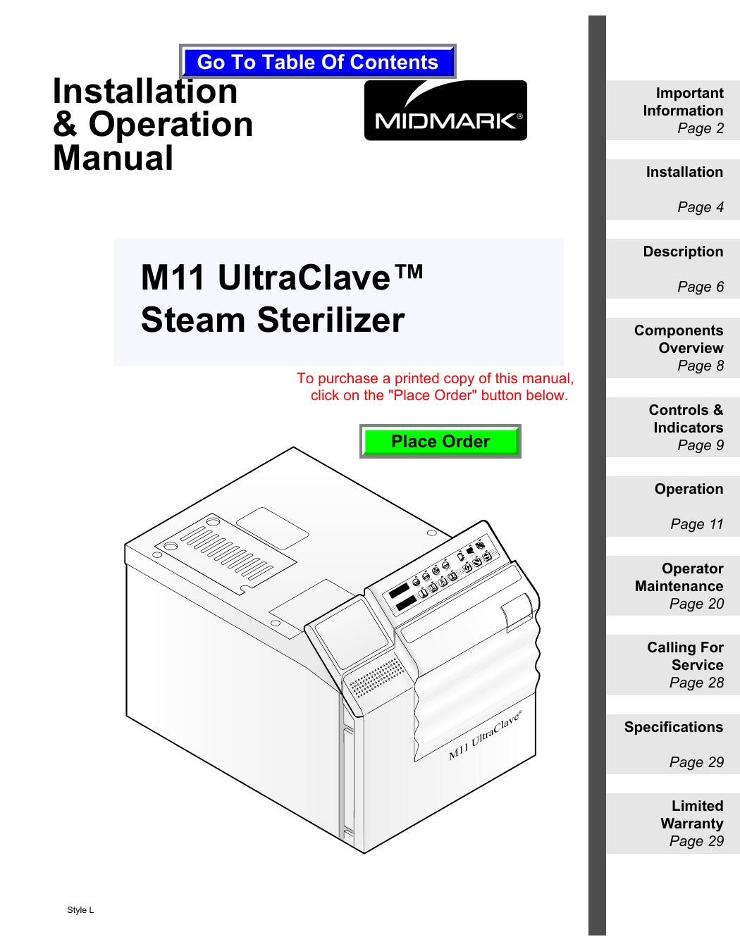 M11 Ultraclave Steam Sterilizer Installation Midmark Wiring Diagram