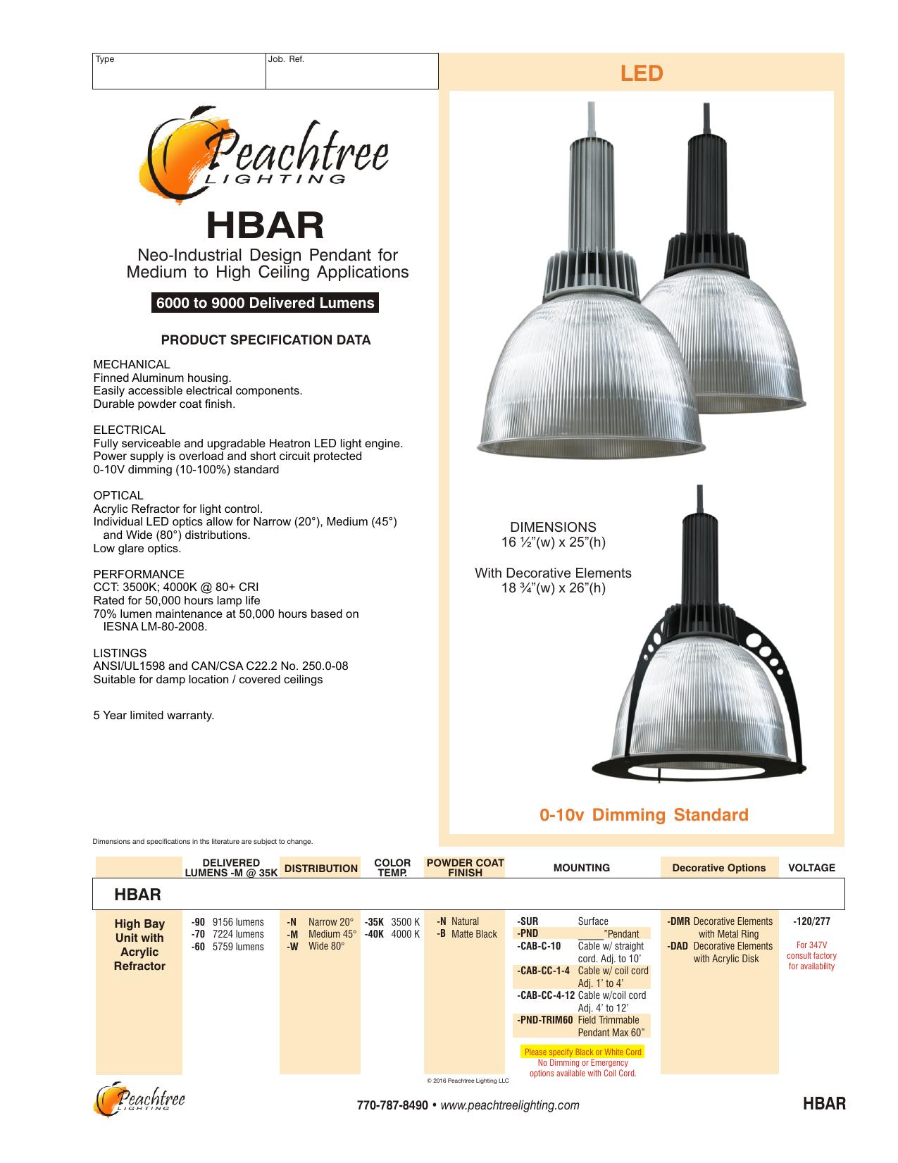Hbar Peachtree Lighting Manualzz