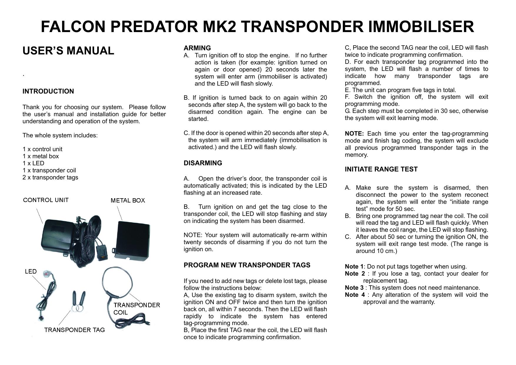 falcon predator mk2 transponder immobiliser | manualzz com
