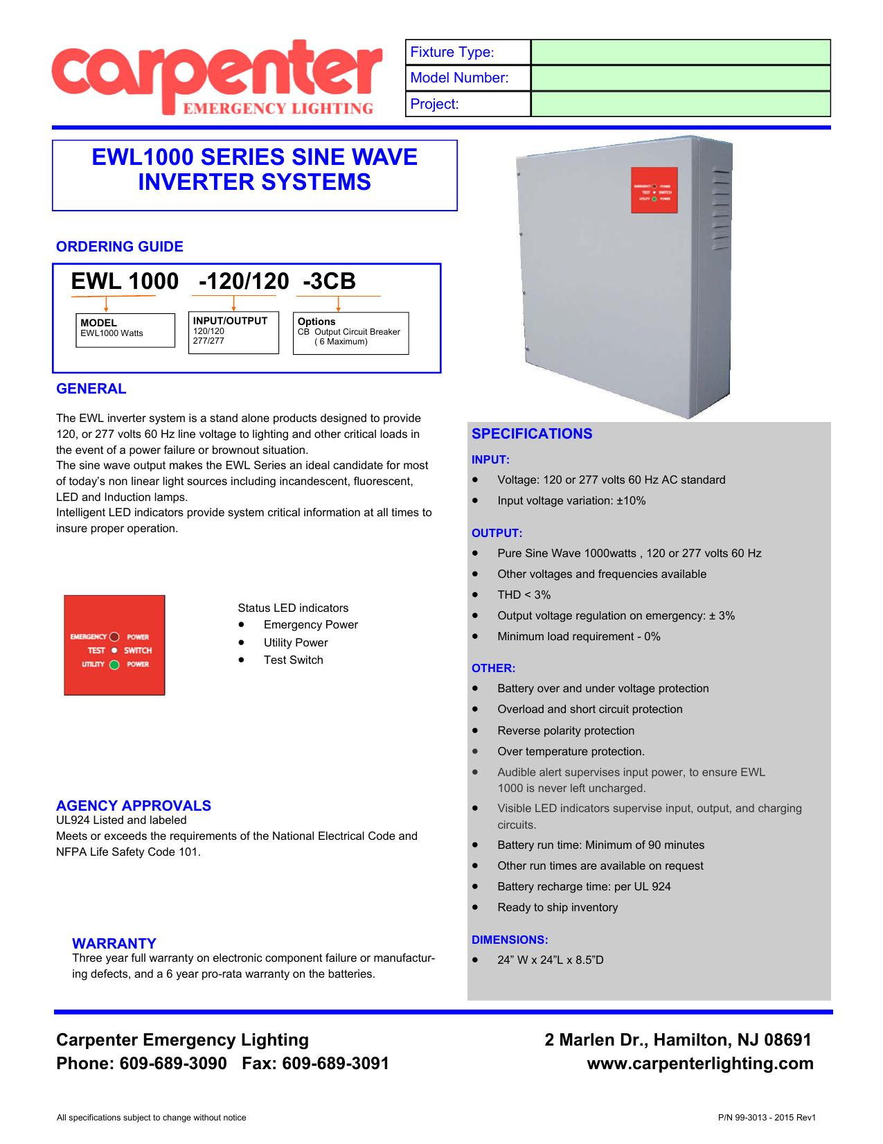 Ewl1000 Inverter Pub Carpenter
