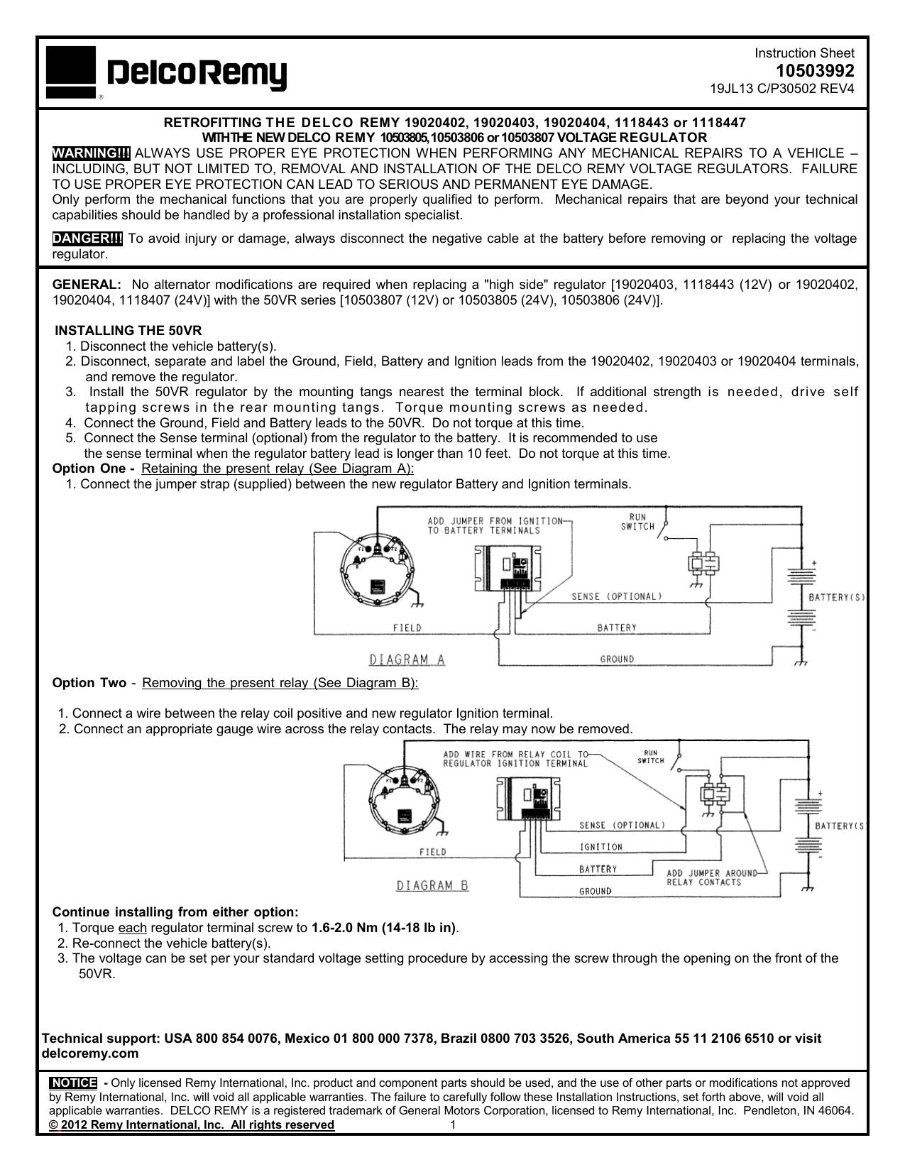 10SI Delco Alternator Positive Ground 6 V Regulator Rebuild Conversion Kit new