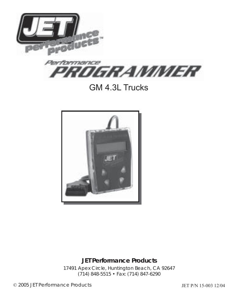 Programmer GM 4 3L - Jet Performance Products | manualzz com