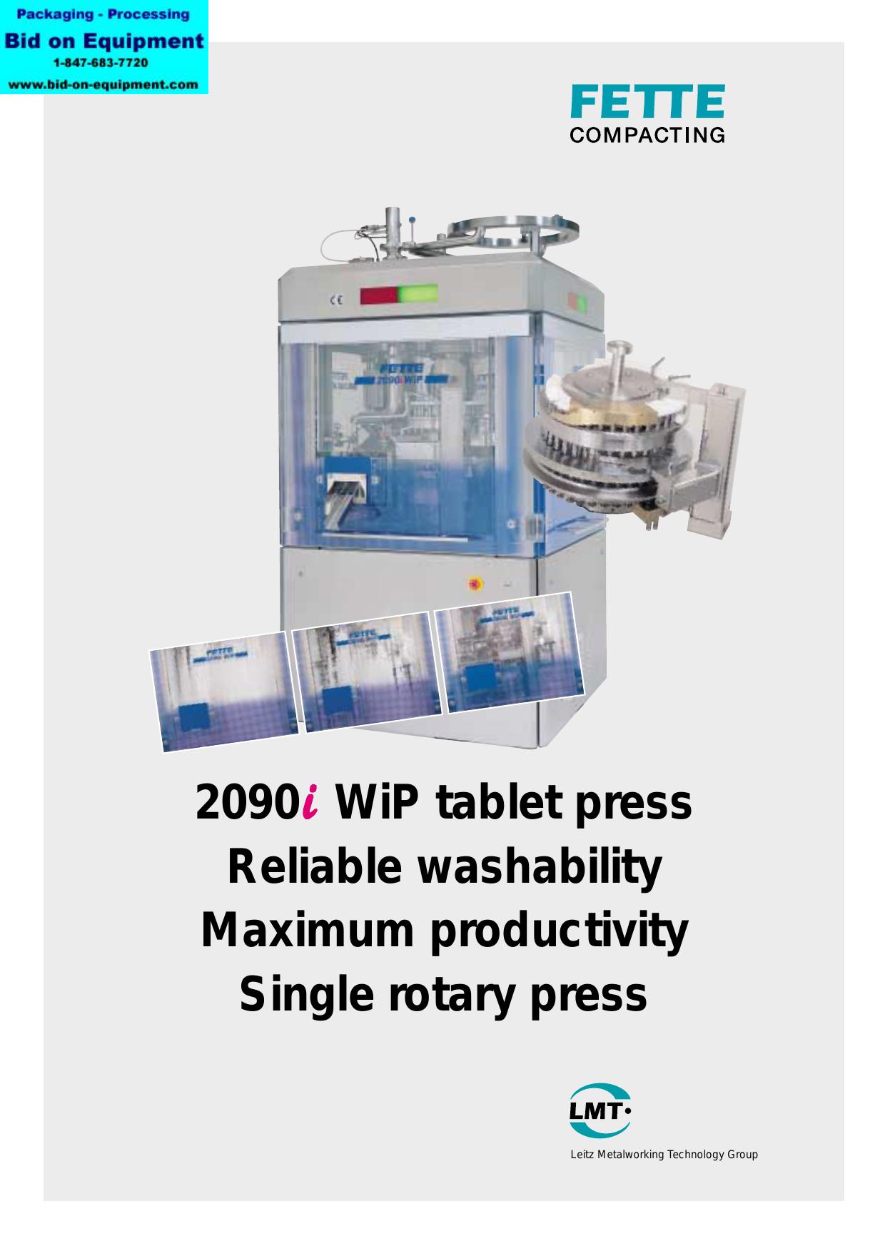 2090 WiP tablet press Reliable washability | manualzz com