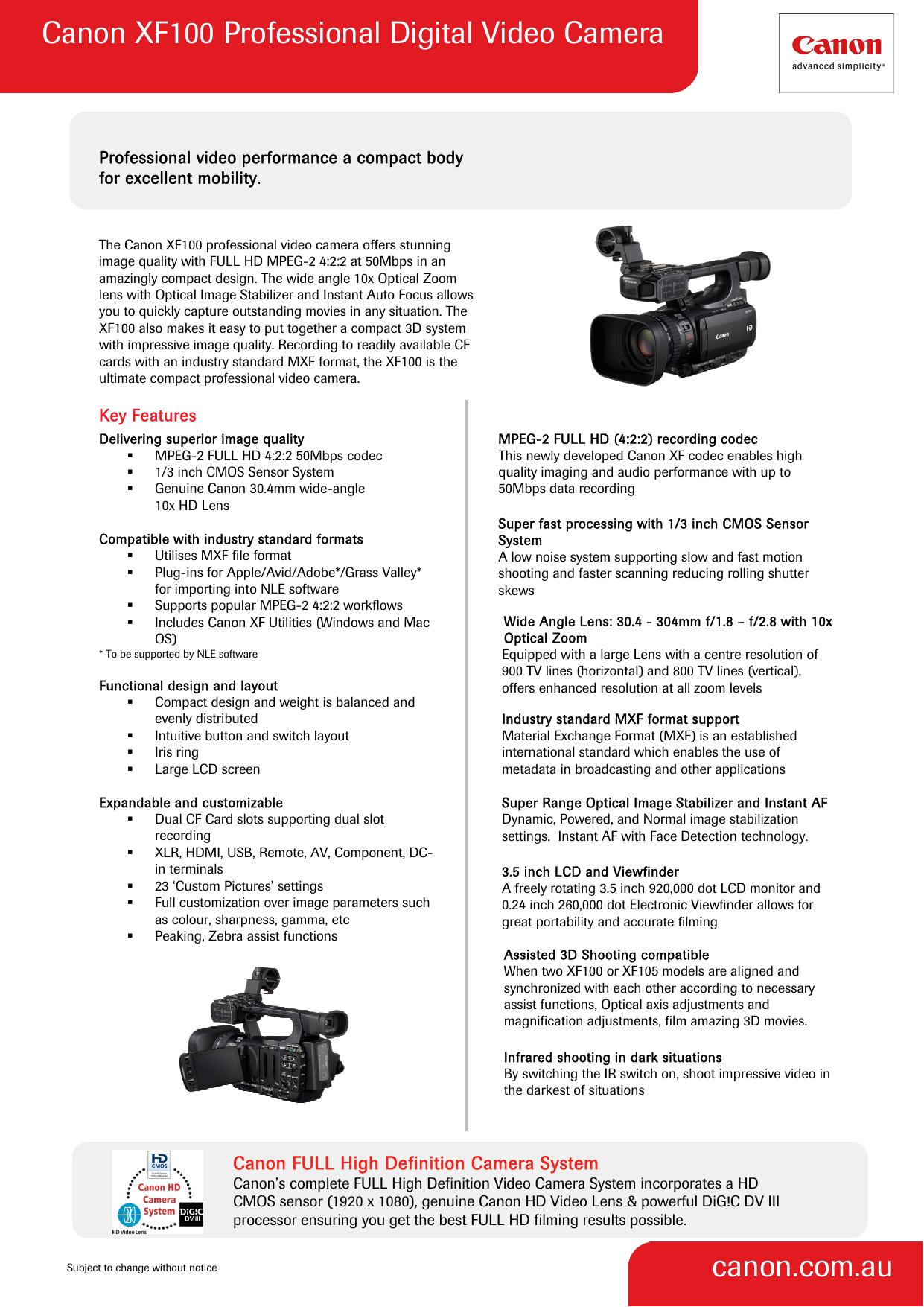 Canon XF20 Professional Digital Video Camera canon.com.au   Manualzz